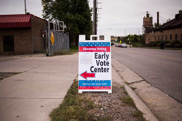 Signage at an early voting center in Minneapolis, Minnesota, on Sept. 23, 2016.