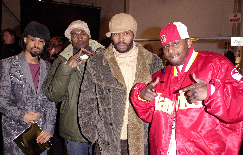 Bilal, Kanye West, Pharoahe and Capone at Ecko Unltd Fall/Winter 2003 show.