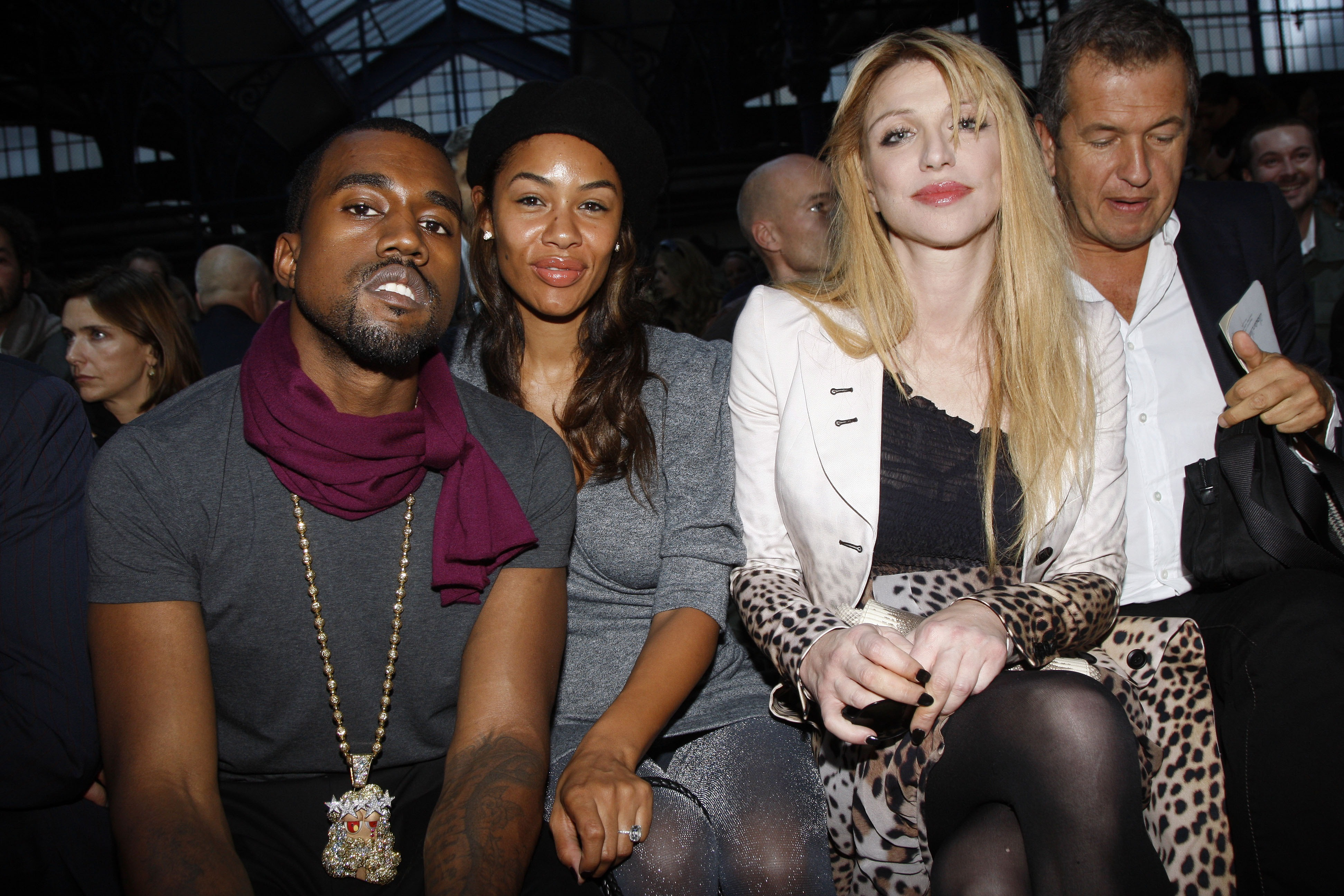 Kanye West, Alexis Phifer, Courtney Love and Mario Testino at Givenchy Spring/Summer 2008 runway show.