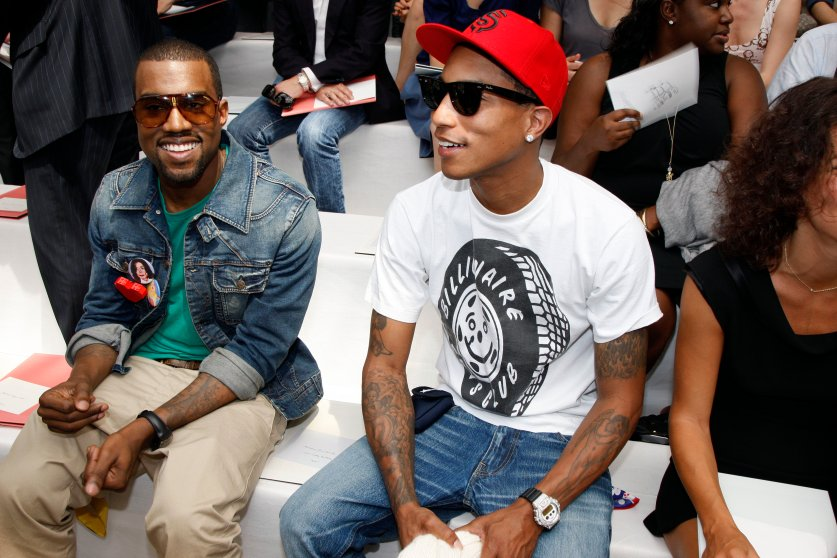 Kanye West and Pharrell Williams at the Louis Vuitton Spring/Summer 2009 Menwear fashion show.