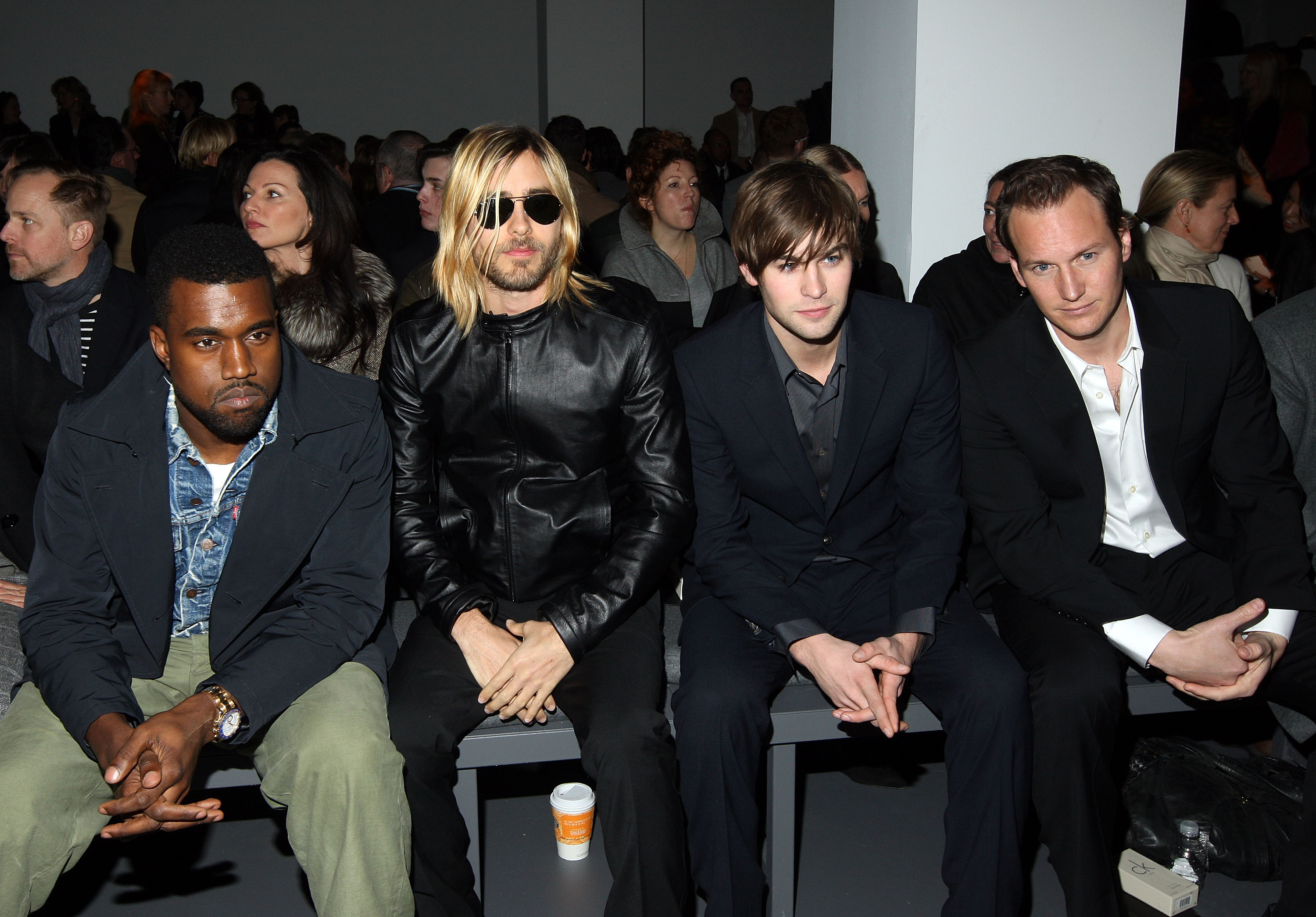 Kanye West, Jared Leto, Chace Crawford and Patrick Wilson at the Calvin Klein Menswear Fall/Winter 2009 fashion show.
