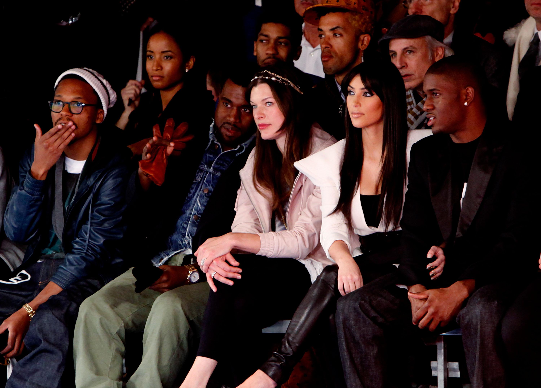 Lupe Fiasco, Kanye West, Milla Jovovich, Kim Kardashian and Reggie Bush at the Y-3 Fall/Winter 2009 fashion show. (Photo by Joe Kohen/WireImage)