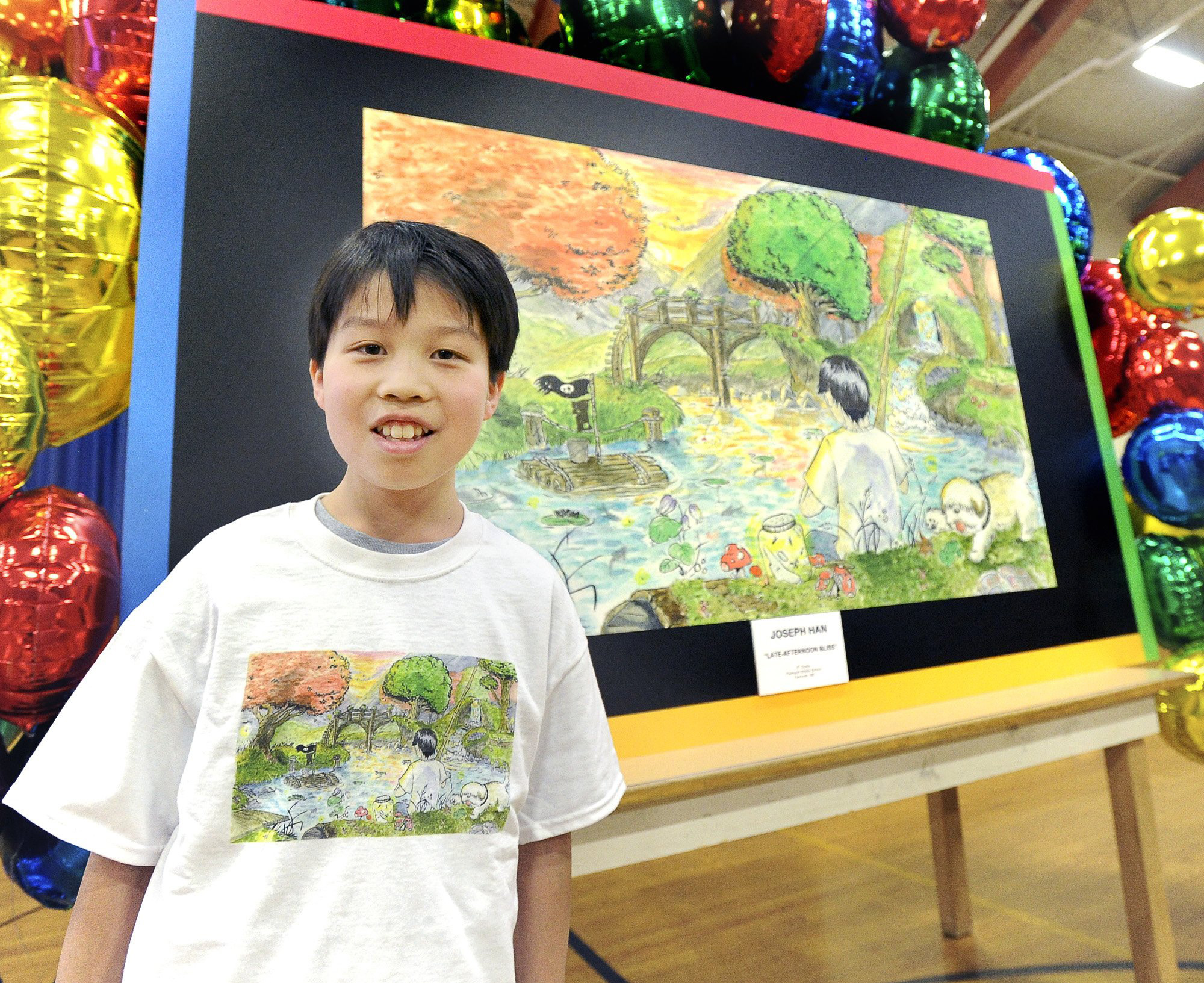 14 year old Joey Han, a 8th grade student at Falmouth Middle School, was honored as a finalist in a national contest to create the best  Doodle for Google  in Maine.  (Photo by John Patriquin/Portland Press Herald via Getty Images)