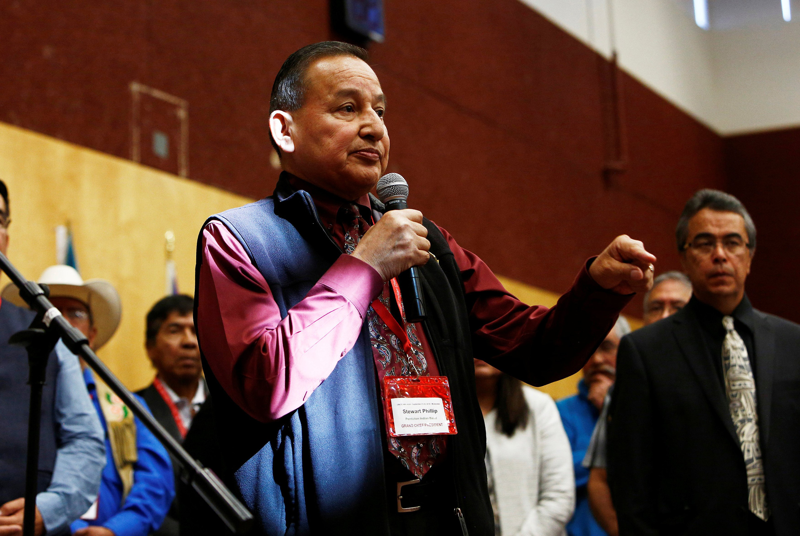 Grand Chief Stewart Phillip speaks to First Nations leaders before signing the Treaty Alliance Against Tar Sands Expansion at the Musqueam Community Centre in Vancouver, British Columbia, Canada, Sept. 22, 2016.