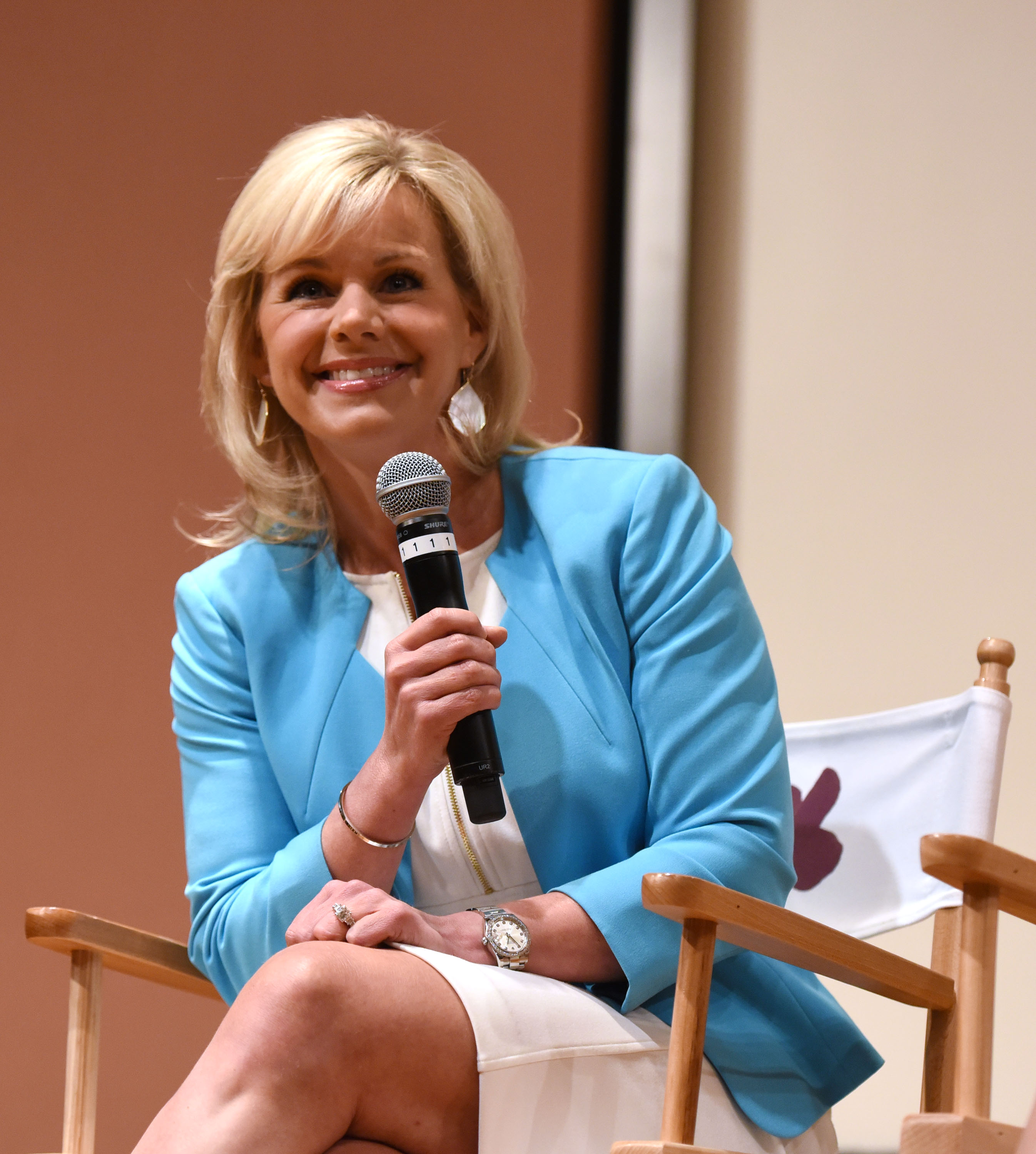Gretchen Carlson speaks Women at the Top: Female Empowerment in Media Panel at the 2016 Greenwich International Film Festival in Greenwich, Conn., on June 12, 2016.