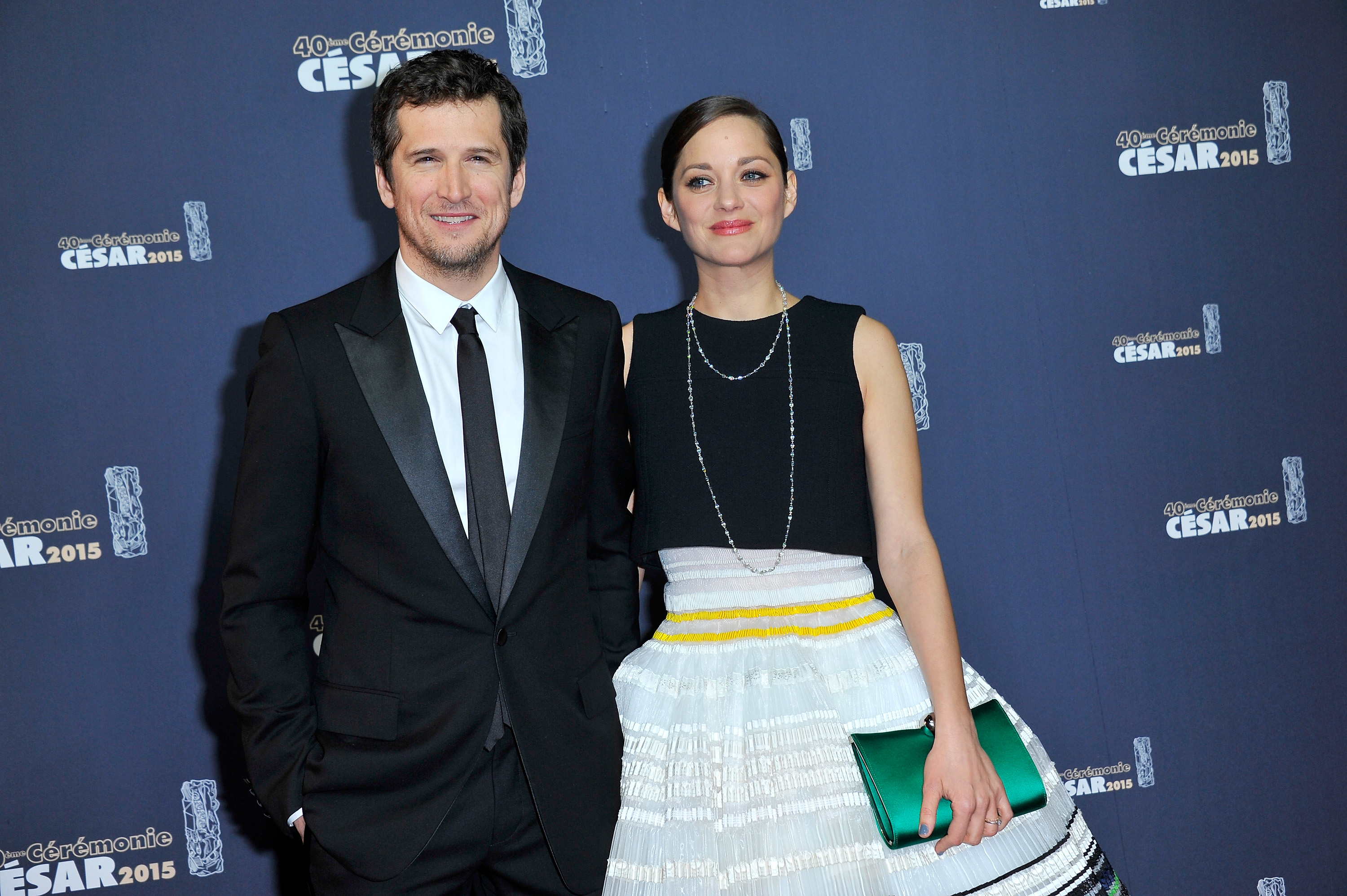 PARIS, FRANCE - Guillaume Canet and Marion Cotillard attend the 40th Cesar Film Awards at Theatre du Chatelet on February 20, 2015 in Paris, France.