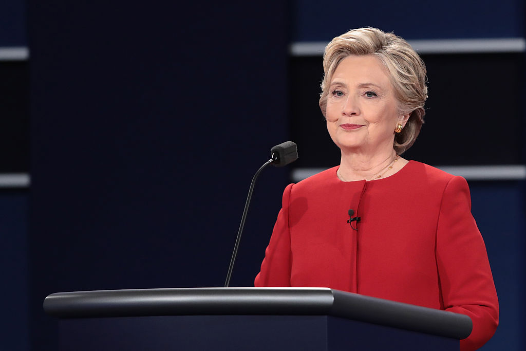 HEMPSTEAD, NY - SEPTEMBER 26:  Democratic presidential nominee Hillary Clinton pauses during the Presidential Debate at Hofstra University on September 26, 2016 in Hempstead, New York.  The first of four debates for the 2016 Election, three Presidential and one Vice Presidential, is moderated by NBC's Lester Holt.  (Photo by Drew Angerer/Getty Images)