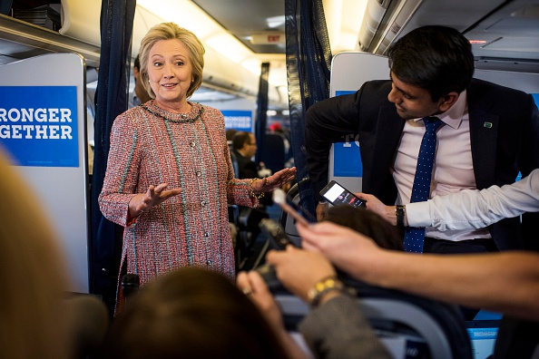After several days of recovering from pneumonia at home, Democratic Nominee for President of the United States former Secretary of State Hillary Clinton returns to the campaign trail beginning her day by greeting the Press Corp aboard the campaign plane bound for Greensboro, North Carolina, in White Plains, New York on Thursday September 15, 2016.