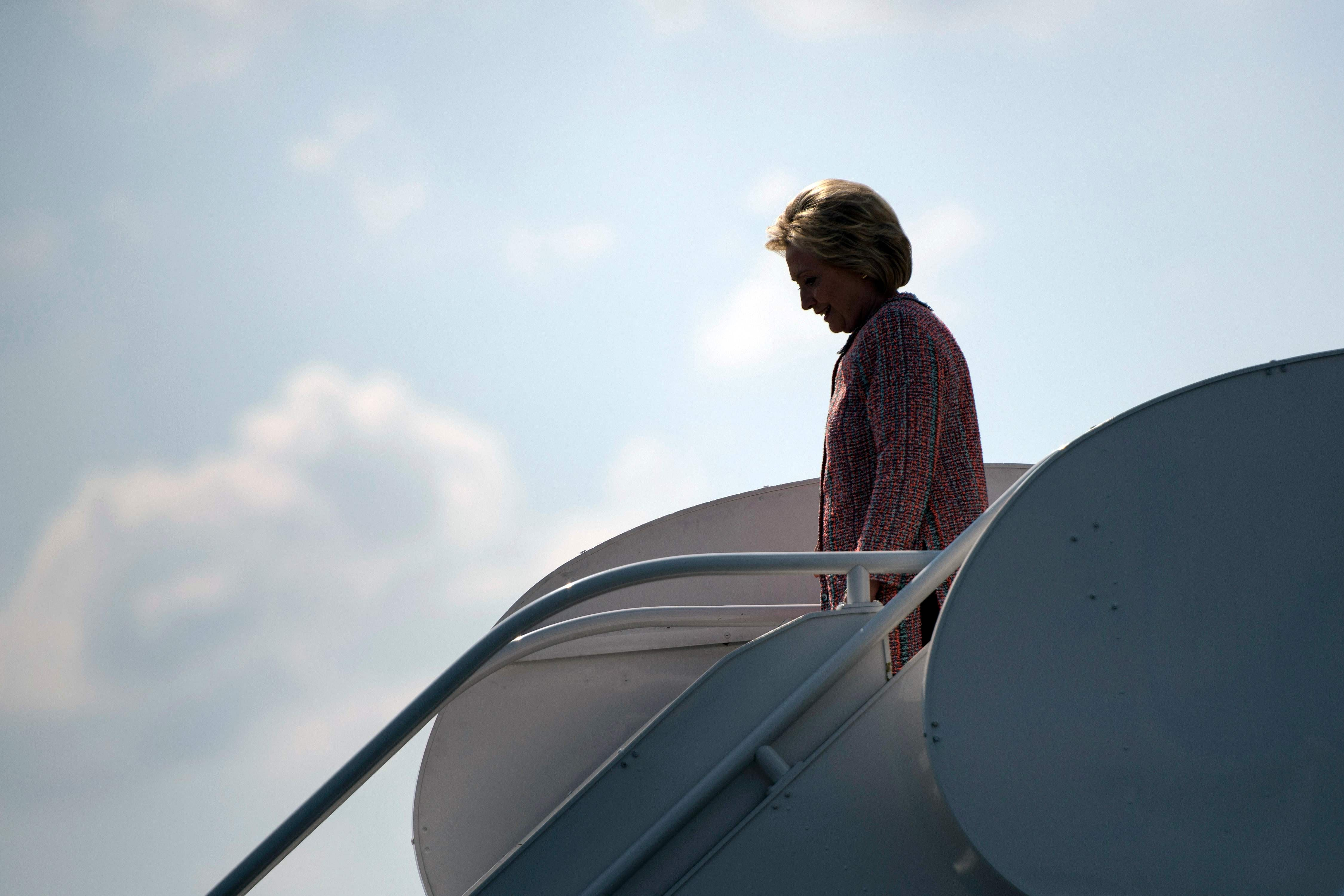 Hillary Clinton arrives at Piedmont Triad International Airport on Sept. 15, 2016 in Greensboro, NC.