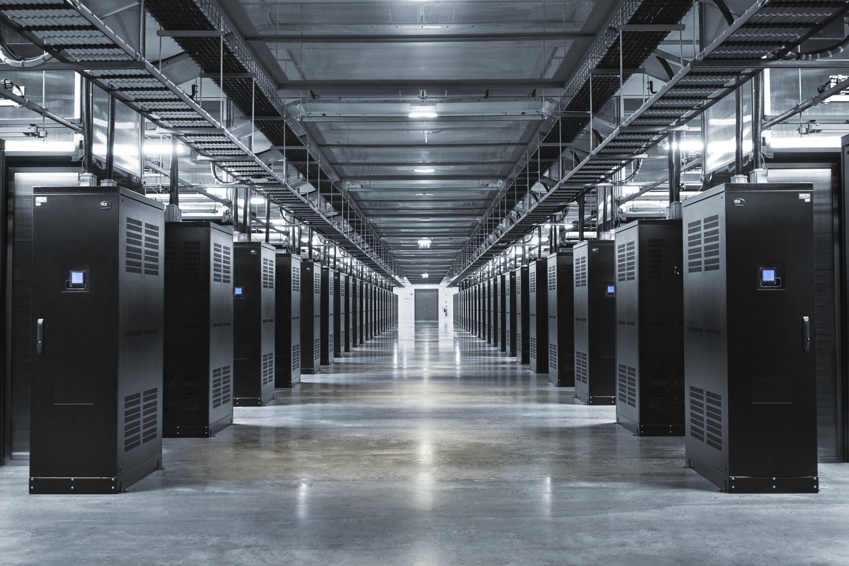 The data center houses tens of thousands of servers. The data halls are frequently empty because only one technician is needed for every 25,000                                servers, Facebook says.