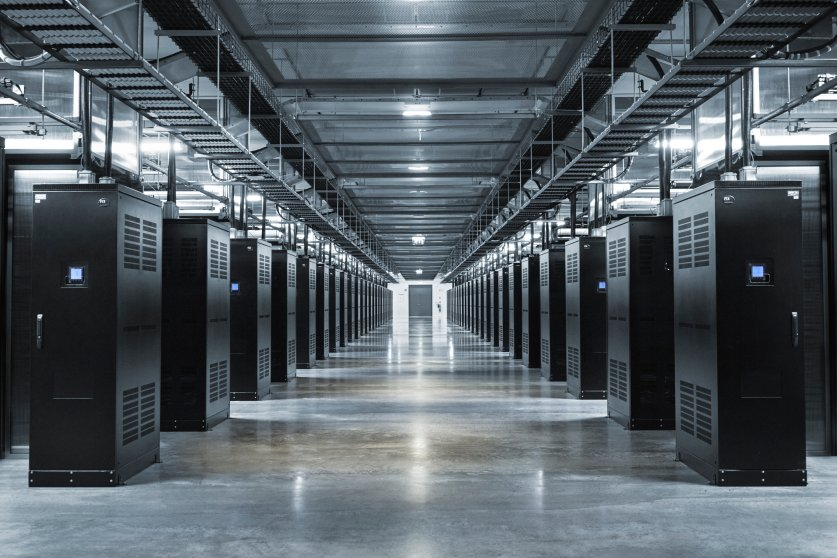The data center houses tens of thousands of servers.