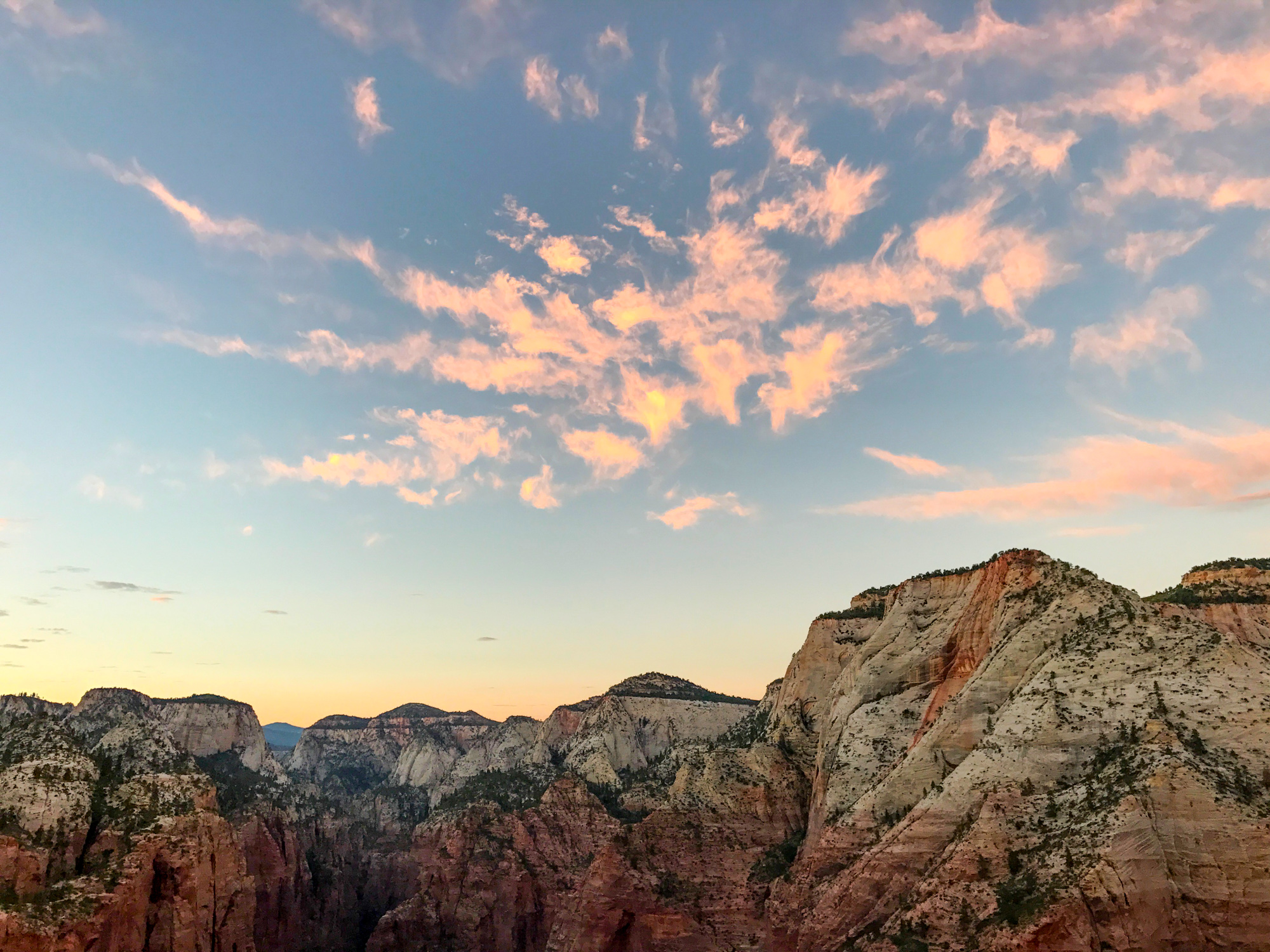 ​​Sunset over Zion Canyon.