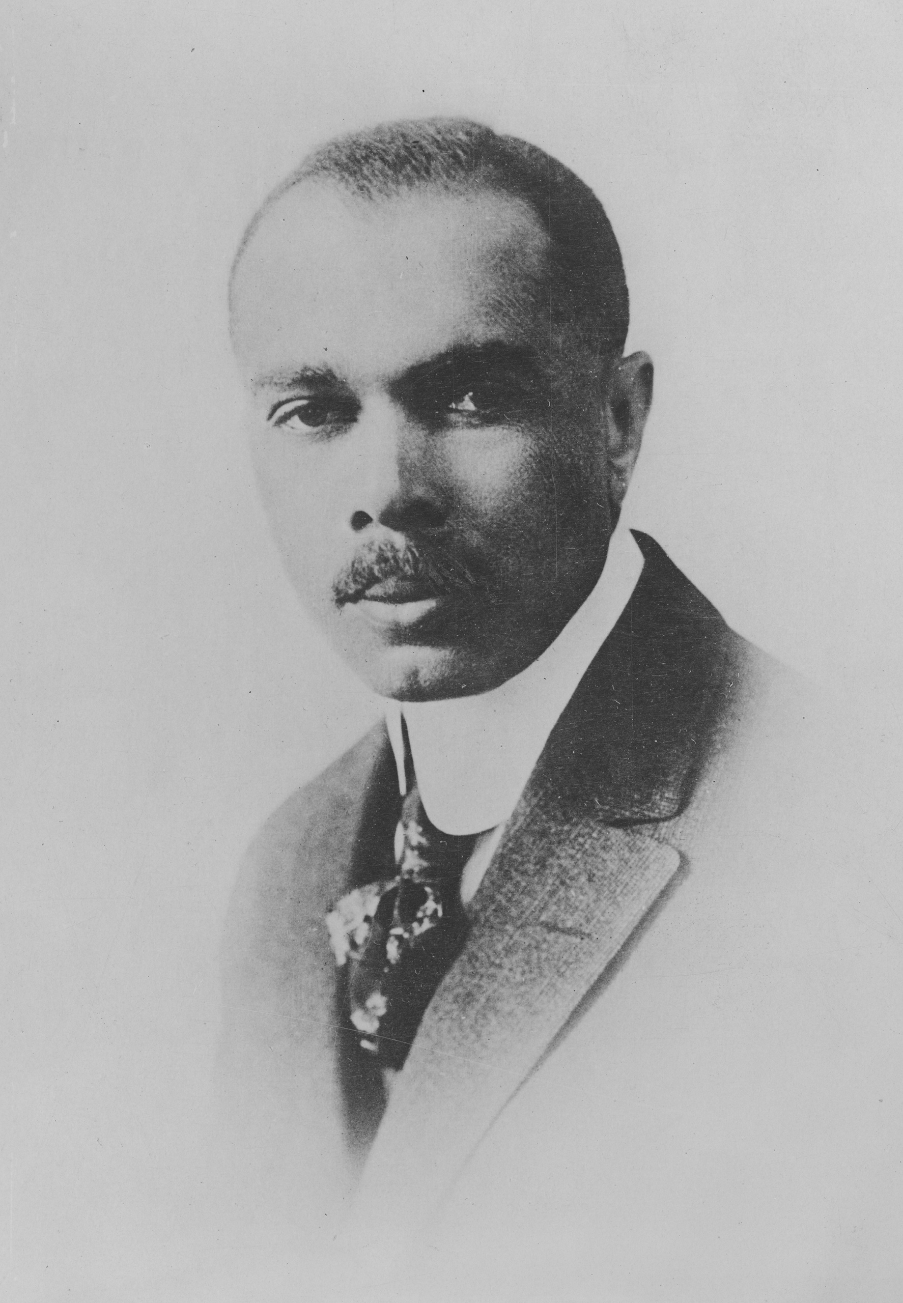A portrait of American author, politician, diplomat, critic, journalist, poet, anthologist, educator, lawyer, songwriter, and early civil rights activist James Weldon Johnson, circa 1925.