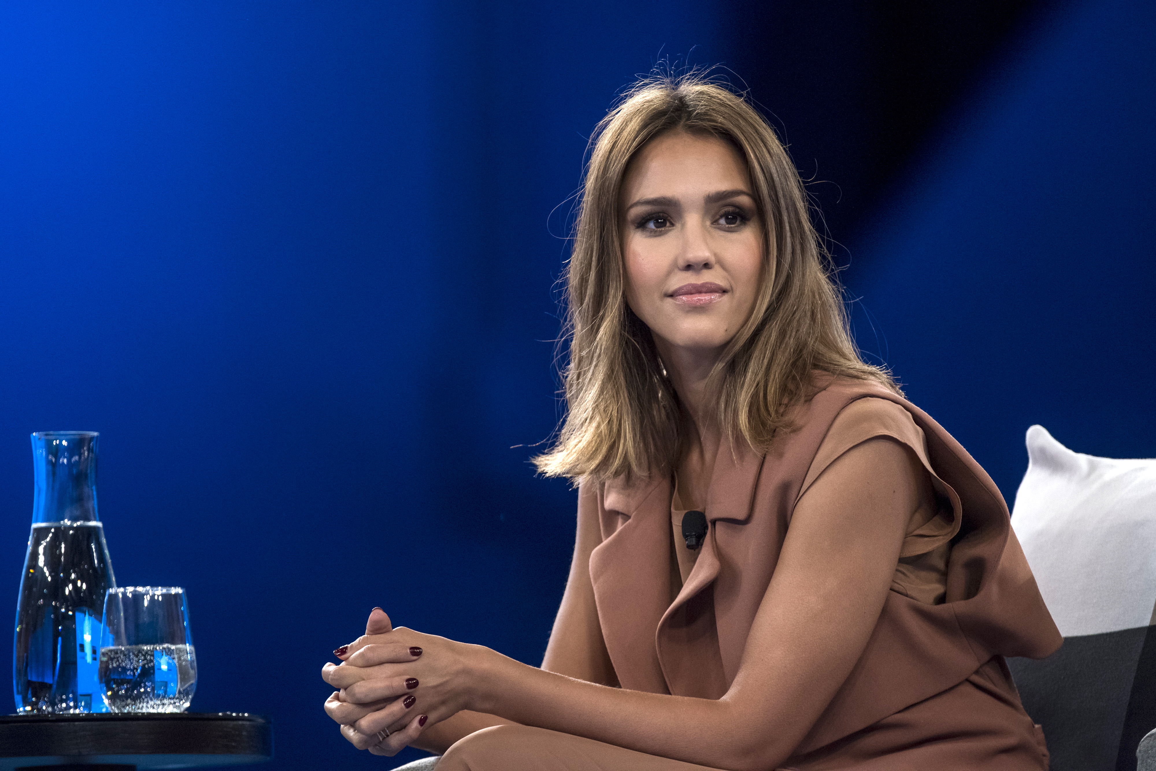 Actress Jessica Alba, co-founder of The Honest Co., listens to a presentation during the DreamForce Conference in San Francisco, California, U.S., on Thursday, Sept. 17, 2015. Salesforce.com Inc. aims to cut the time its customers spend plugging data into its systems by weaving machine-learning technology from acquisition RelateIQ into its software for managing sales accounts. Photographer: David Paul Morris/Bloomberg via Getty Images