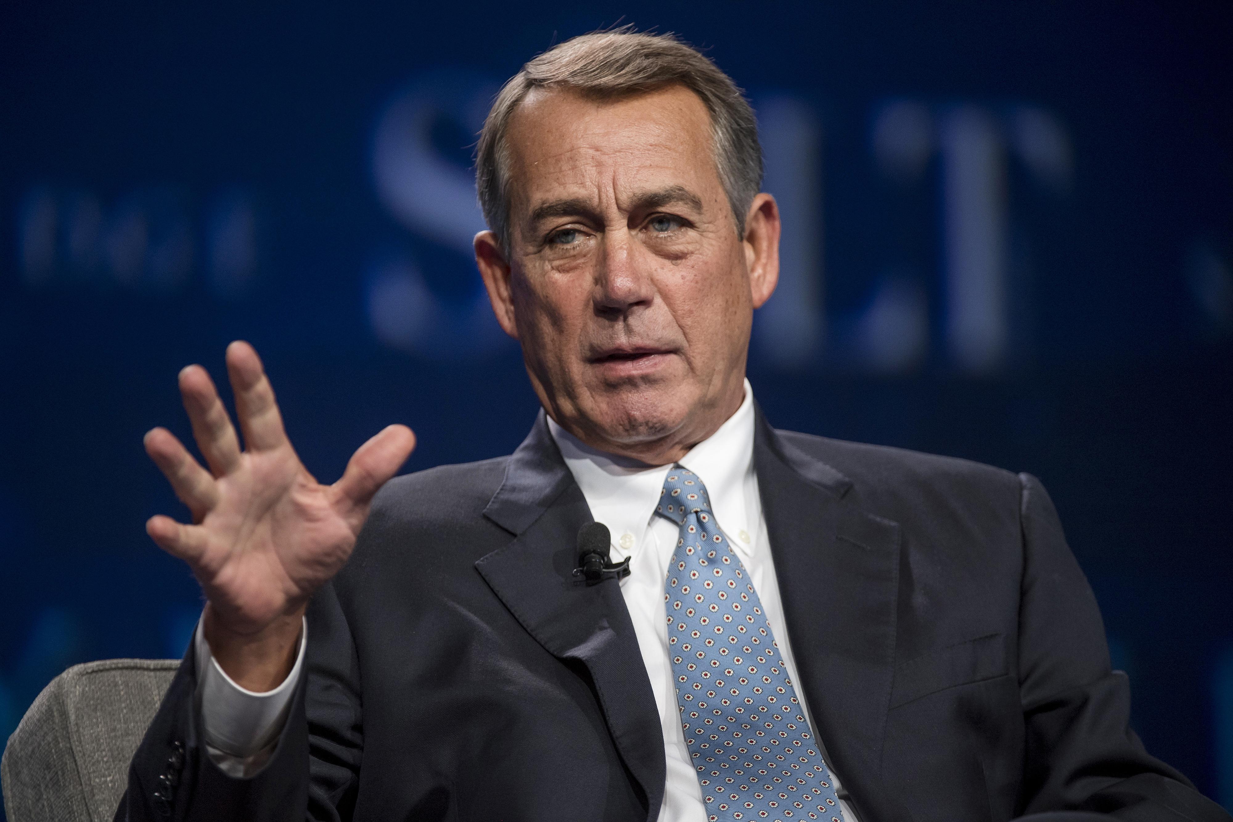 John Boehner, former U.S. House Speaker, speaks during the Skybridge Alternatives (SALT) conference in Las Vegas, Nevada, U.S., on May 12, 2016.
