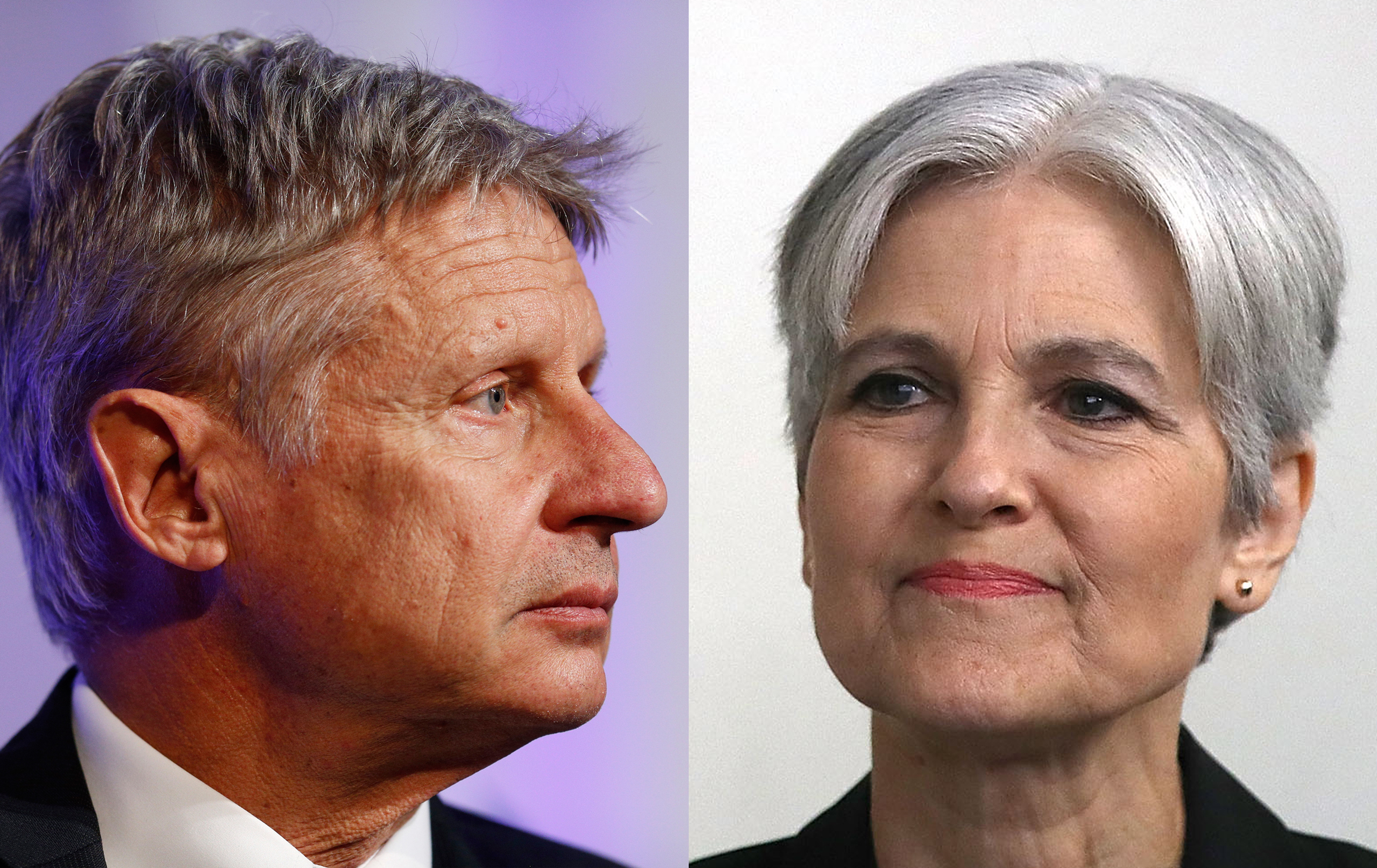 Gary Johnson, left, during a campaign event at Purdue University in West Lafayette, Ind., on Sept. 13, 2016; Jill Stein, right, prior to a press conference at the National Press Club in Washington, D.C., on Aug. 23, 2016
