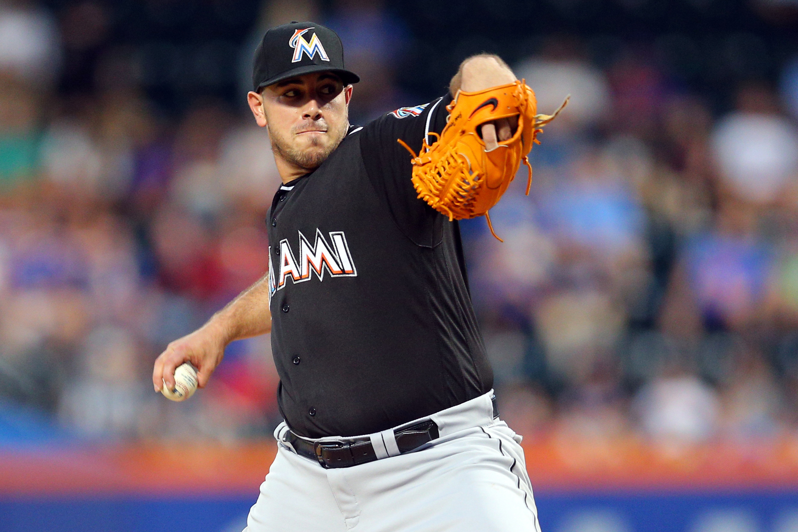 Miami Marlins starting pitcher Jose Fernandez pitches against the New York Mets during the first inning at Citi Field on Aug 29, 2016.