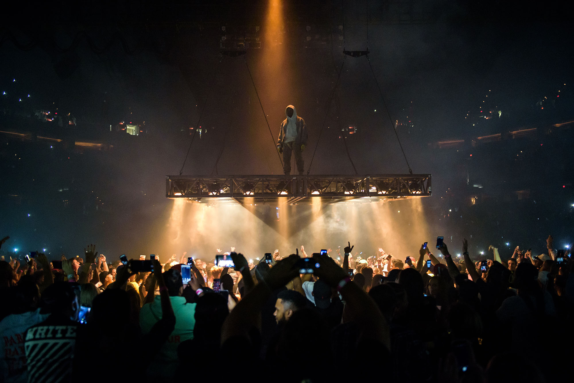 Kanye West performs at the Verizon Center in Washington, D.C. as part of his Saint Pablo Tour.  West spent the show suspended above the audience, performing on a stage that moved around the arena.   (Photo by Kyle Gustafson / For The Washington Post via Getty Images)