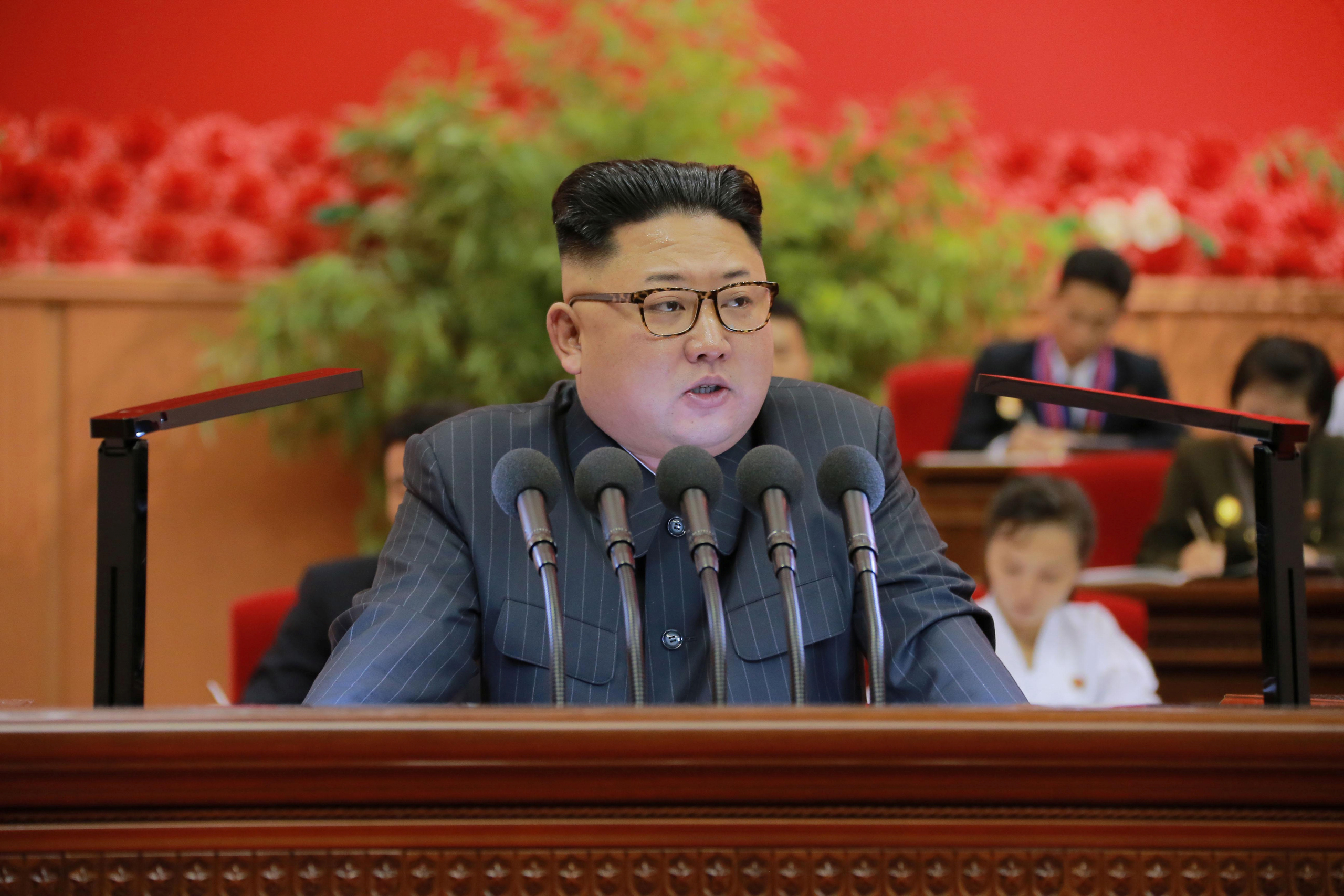 North Korean leader Kim Jong Un gives a speech at the 9th Congress of the Kim Il Sung Socialist Youth League in this undated photo released by North Korea's Korean Central News Agency (KCNA) in Pyongyang on August 29, 2016.