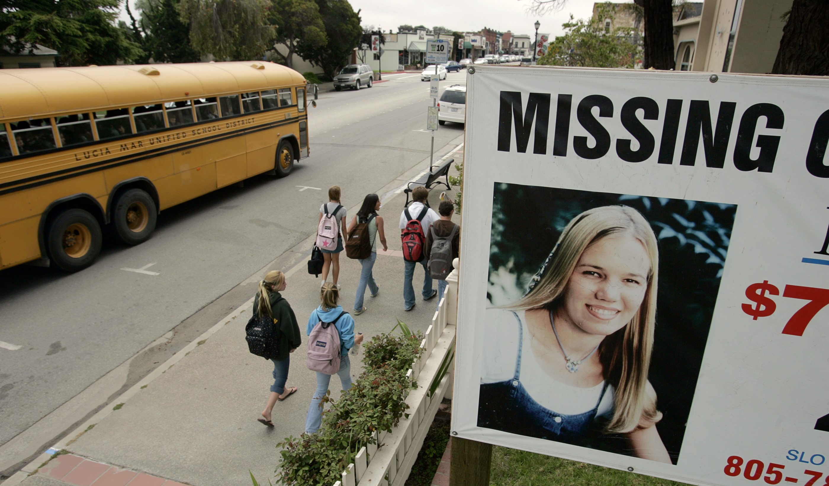 Just across the East Branch Street, from city hall, in the California central coast town of Arroyo Grande, is this sign that helps with public awareness in case involving MISSING Cal Poly San Luis Obispo student Kristin Smart. Kristen was in her first year at Cal Poly when she vanished in 1996.