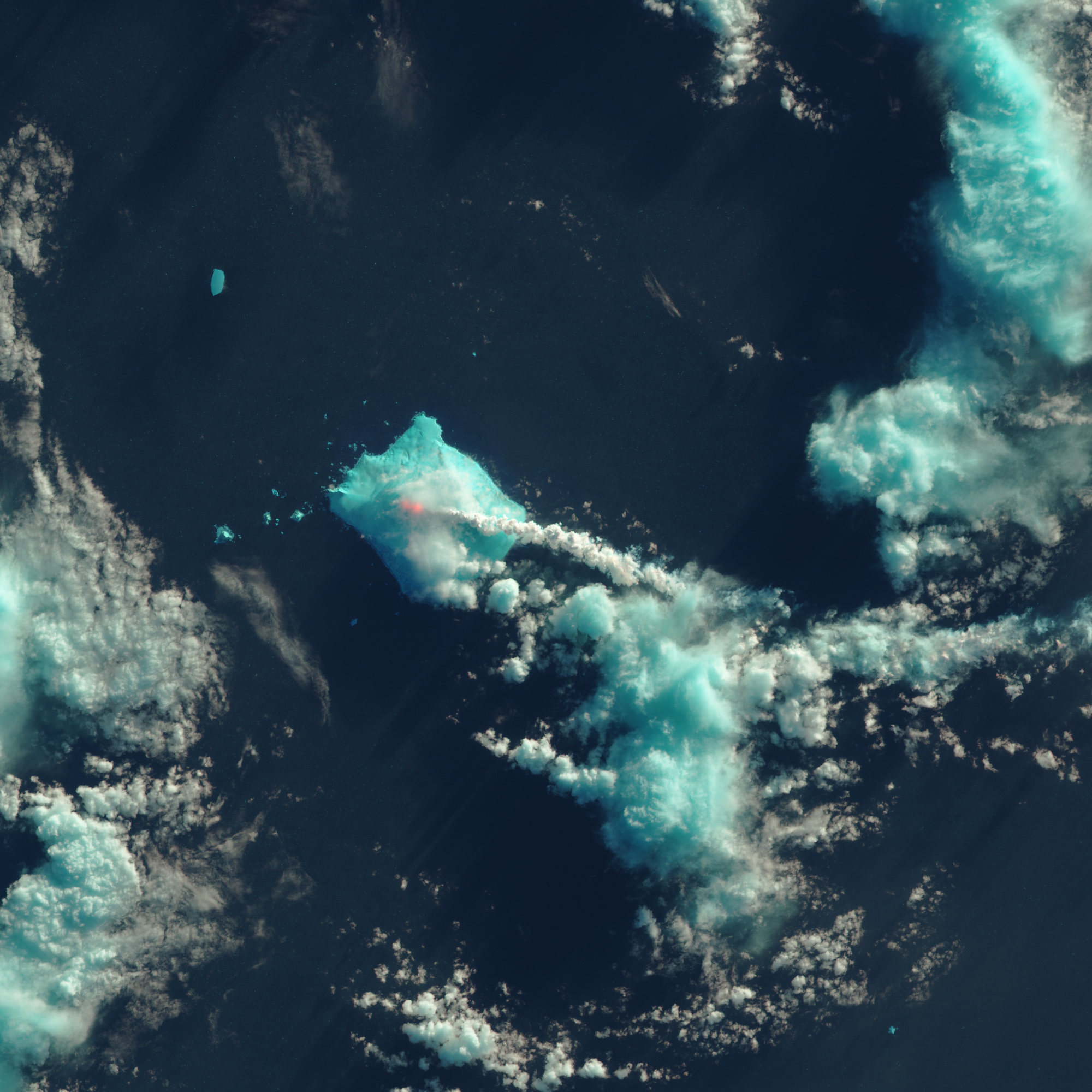 Mount Sourabaya, Bristol IslandA combination of shortwave-infrared, near-infrared, and red light helped detect the heat signatures of an eruption on this remote stratovolcano, observed for the first time in 60 years. May 1, 2016.