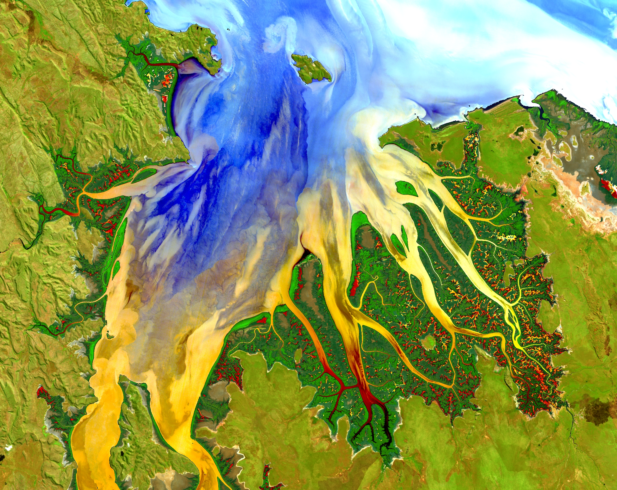 Western AustraliaThis image of a tropical estuary was enhanced to show complex sediment, nutrient and vegetation patterns. May 12, 2013.