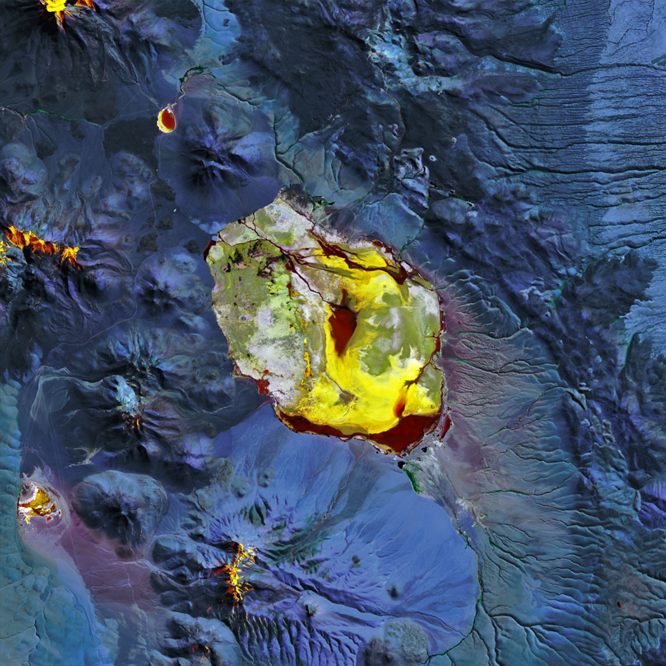 Laguna Pastos Grandes, BoliviaIn this infrared image of a shallow salt lake in a volcanic caldera, captured by Landsat 8, water appears red, while salt and other evaporated deposits appear gold and yellow. June 21, 2015.