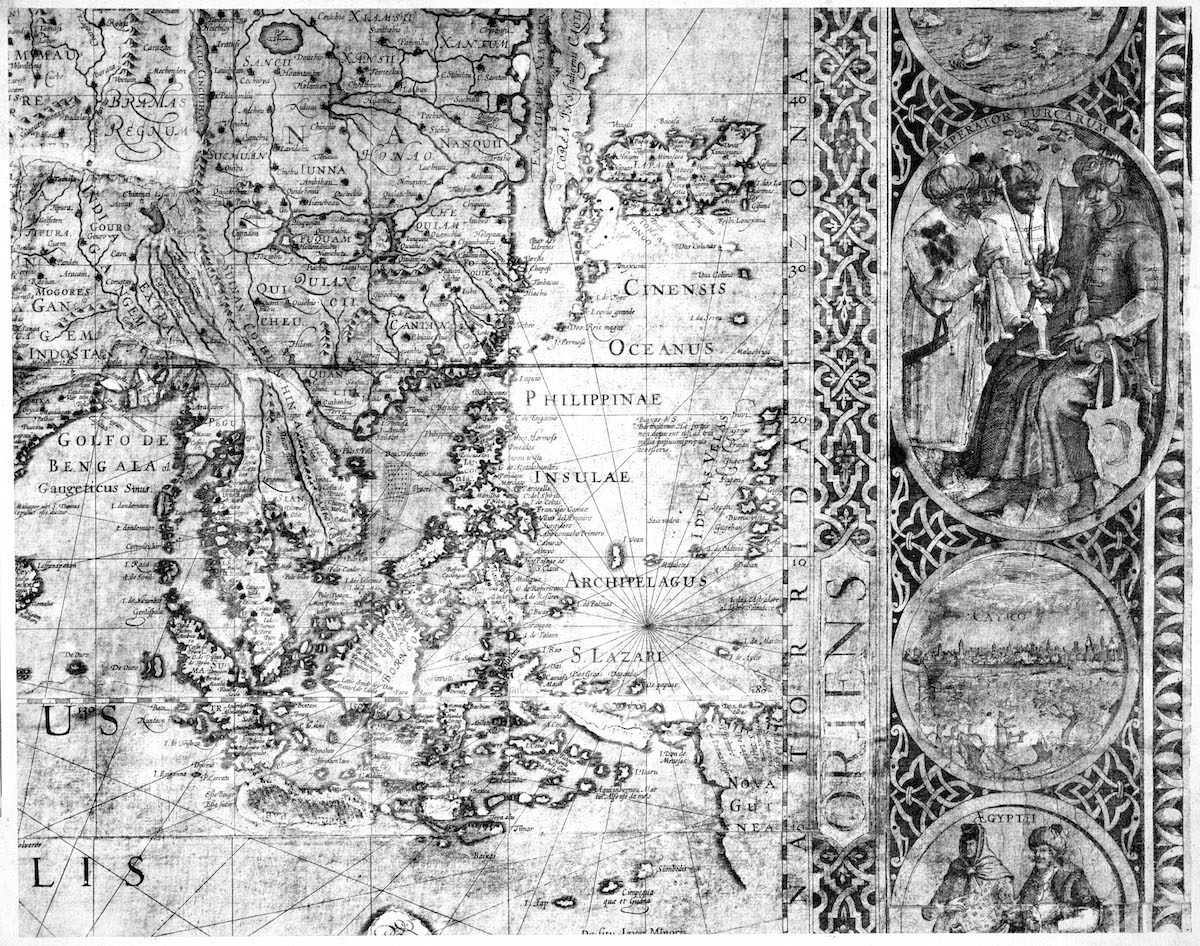 Detail of an 18th-century map of the world on the Mercator projection by the Flemish cartographer Jodocus Hondius (1563-1612), showing the region around the South China Sea