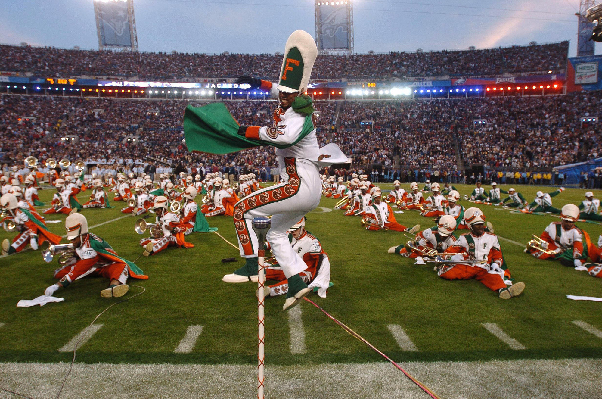 JACKSONVILLE, UNITED STATES:  Drum Major for Florida A&M University marching band performs during the Super Bowl pre-game show 06 February 2005 at Alltel Stadium in Jacksonville.     AFP PHOTO/Roberto SCHMIDT  (Photo credit should read ROBERTO SCHMIDT/AFP/Getty Images)
