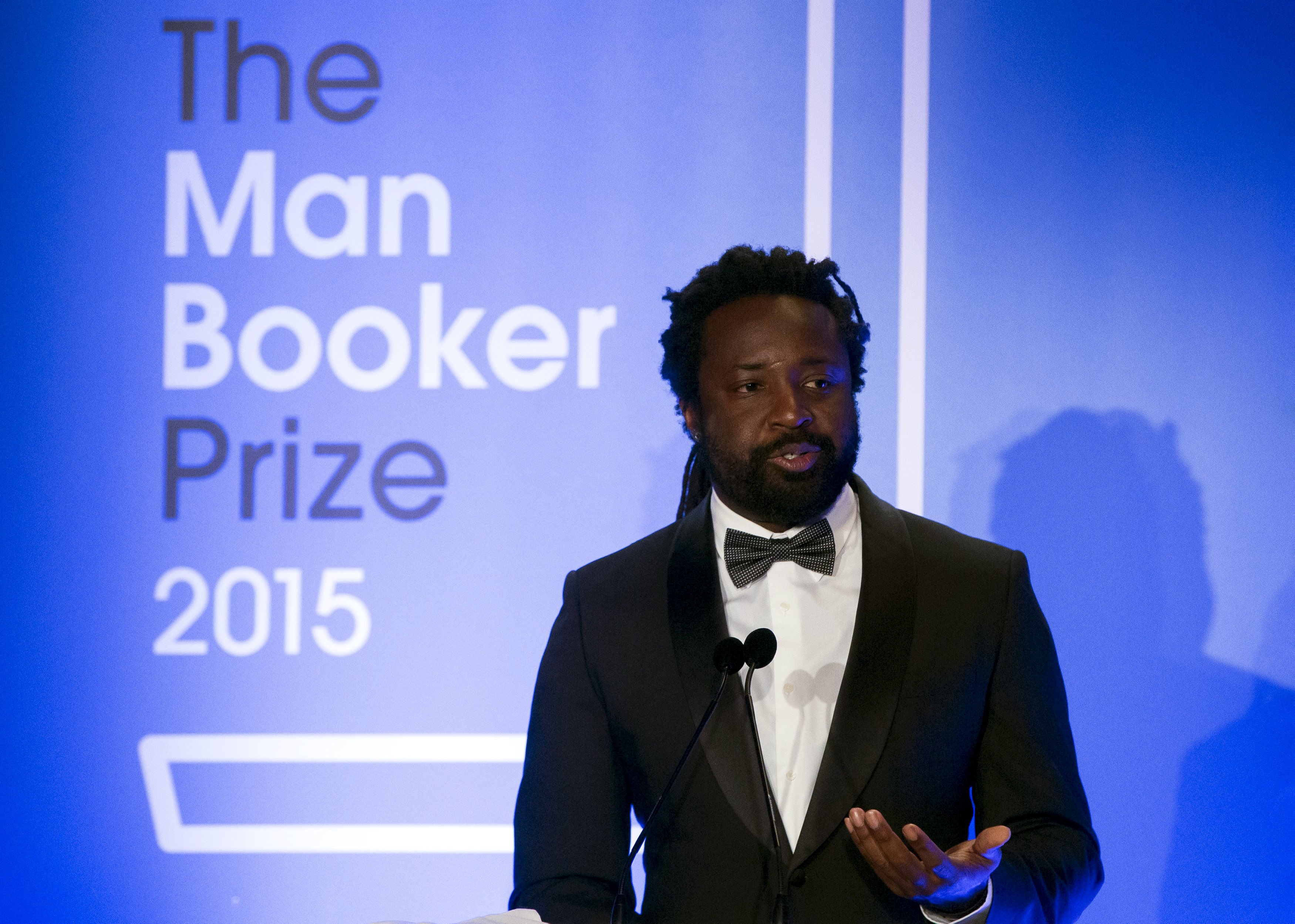 Author Marlon James winning author of  A Brief History of Seven Killings  speaks at the ceremony for the Man Booker Prize for Fiction 2015 on October 13, 2015 in London, England.