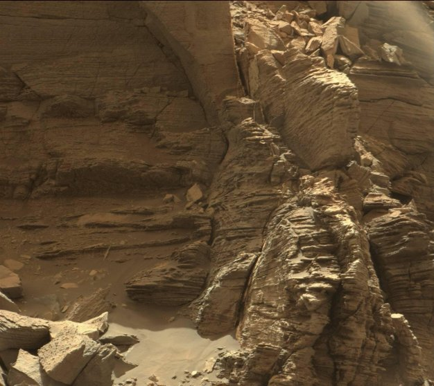 Curiosity got close to this outcrop, which displays finely layered rocks, on Sept. 9, 2016.