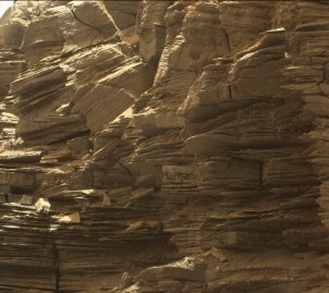 This closeup view from NASA's Curiosity rover shows finely layered rocks, deposited by wind long ago as migrating sand dunes.