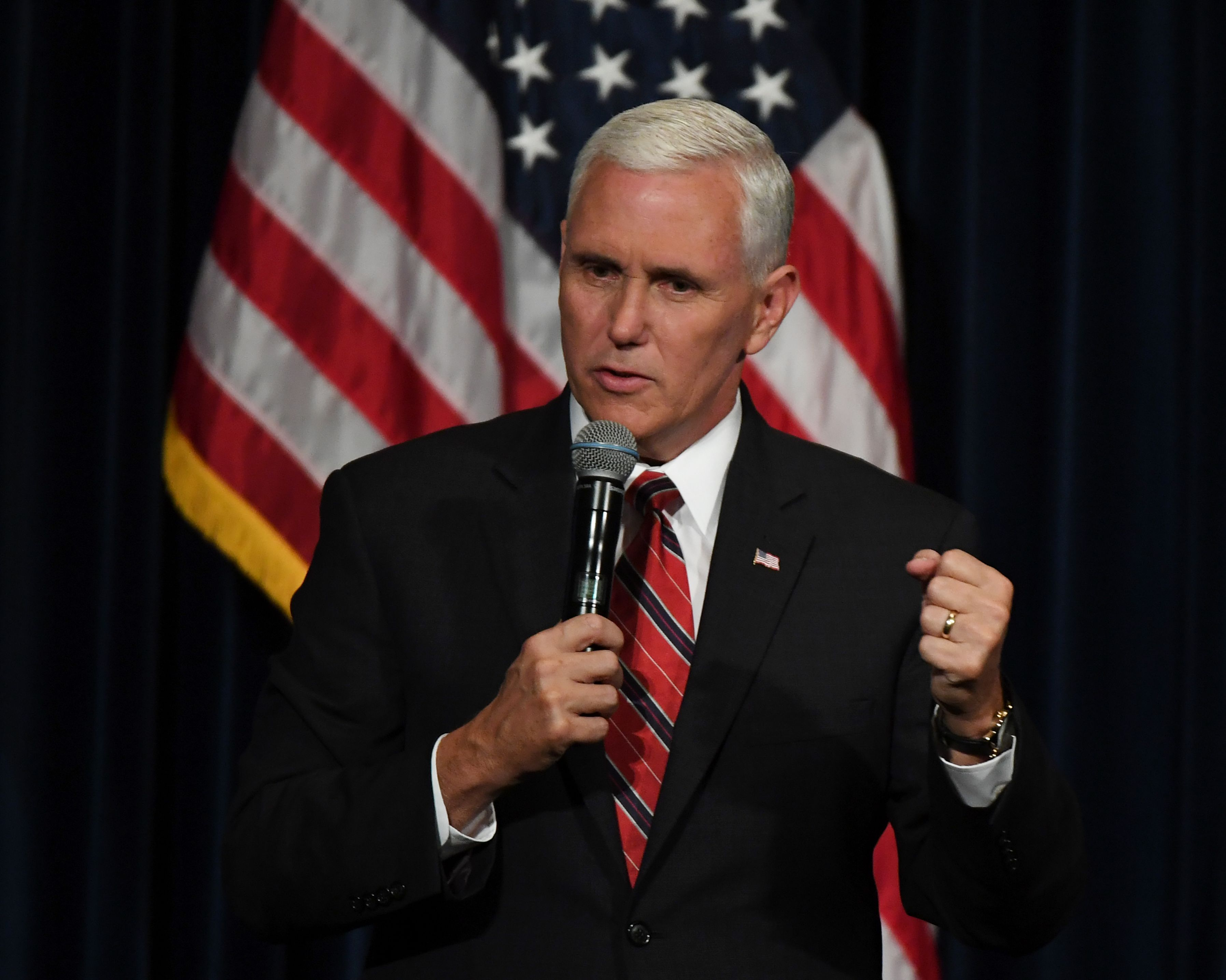 US Vice Presidential candidate Mike Pence speaks to Republicans at the Ronald Reagan Presidential Library in Simi Valley, California on Sept. 8, 2016.