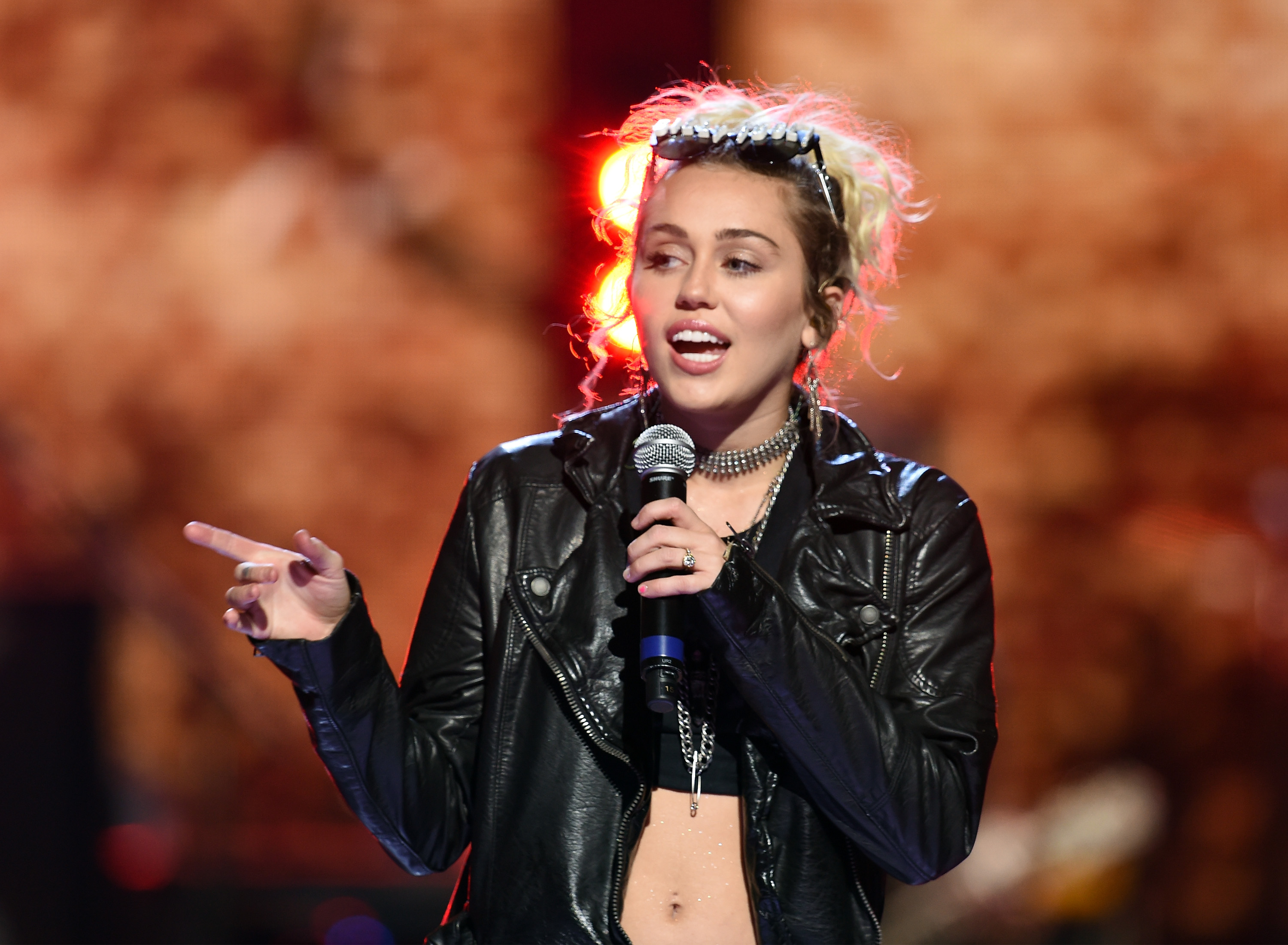 Miley Cyrus performs onstage at the 2016 iHeartRadio Music Festival at T-Mobile Arena on September 23, 2016 in Las Vegas, Nevada.