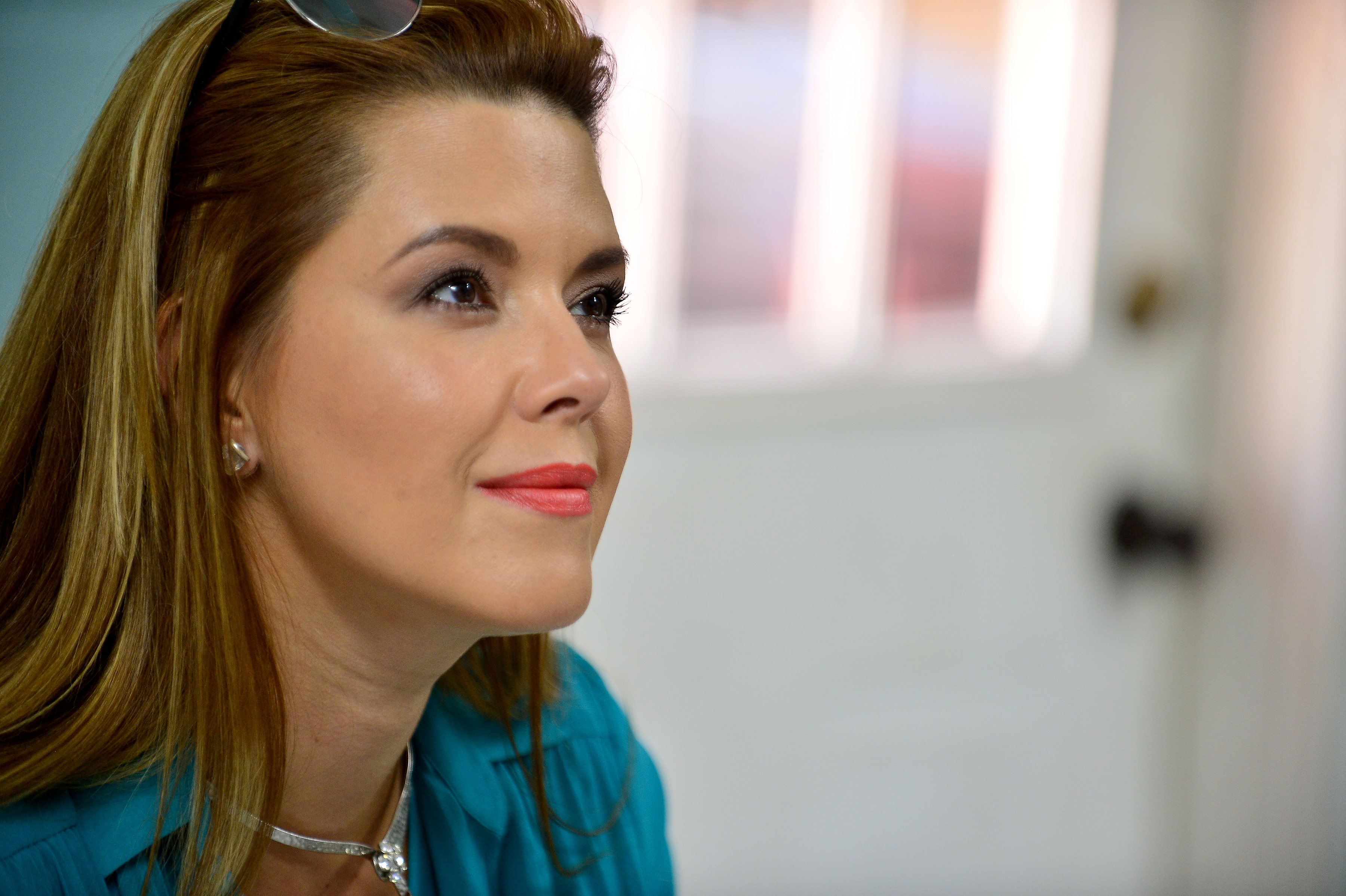 Actress and former Miss Universe Alicia Machado campaigns for Hillary Clinton in Miami, Fla., on Aug. 20, 2016.