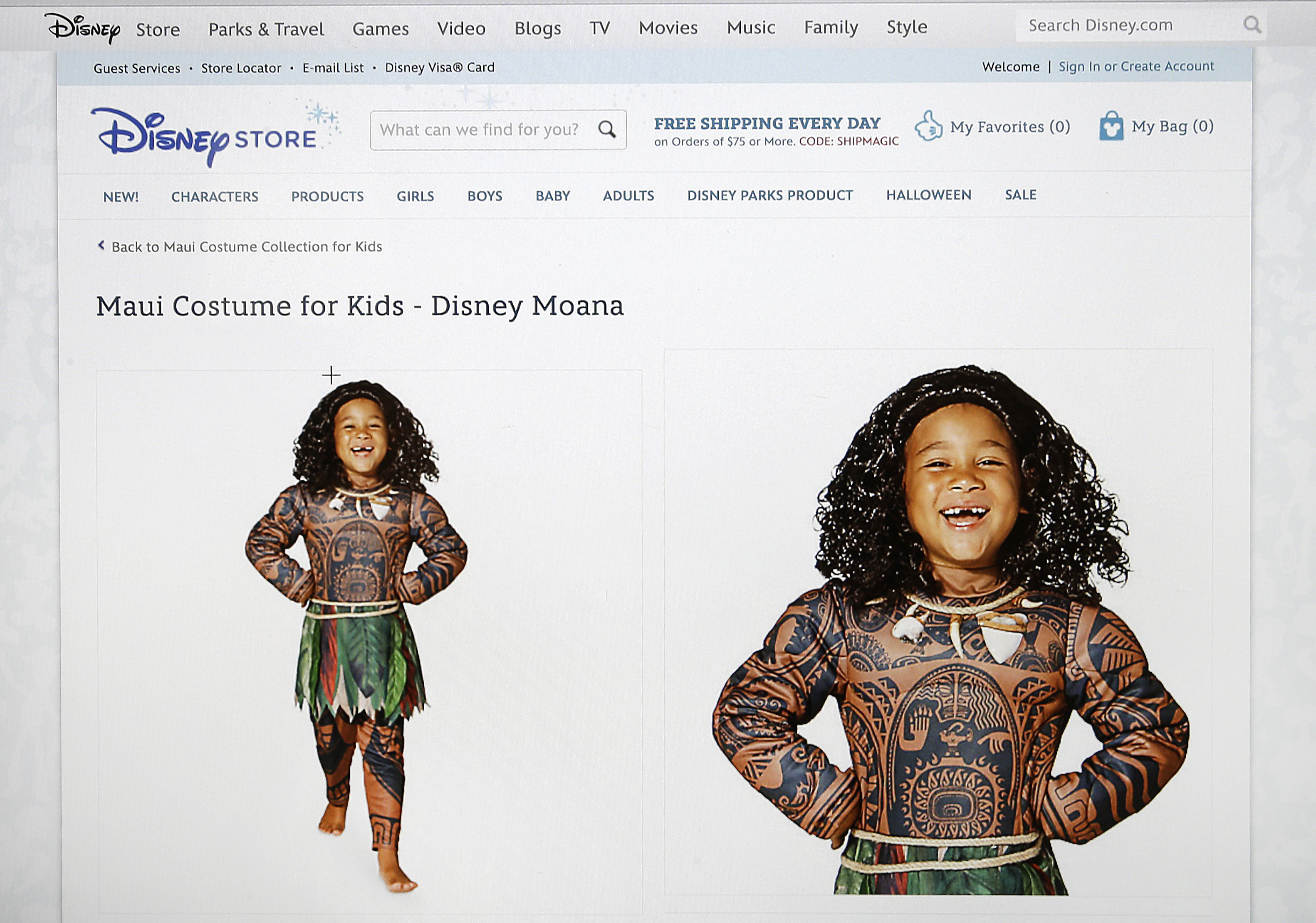 This photograph of a computer screen shows the DisneyStore.com website's Maui Halloween costume on Sept. 21, 2016.