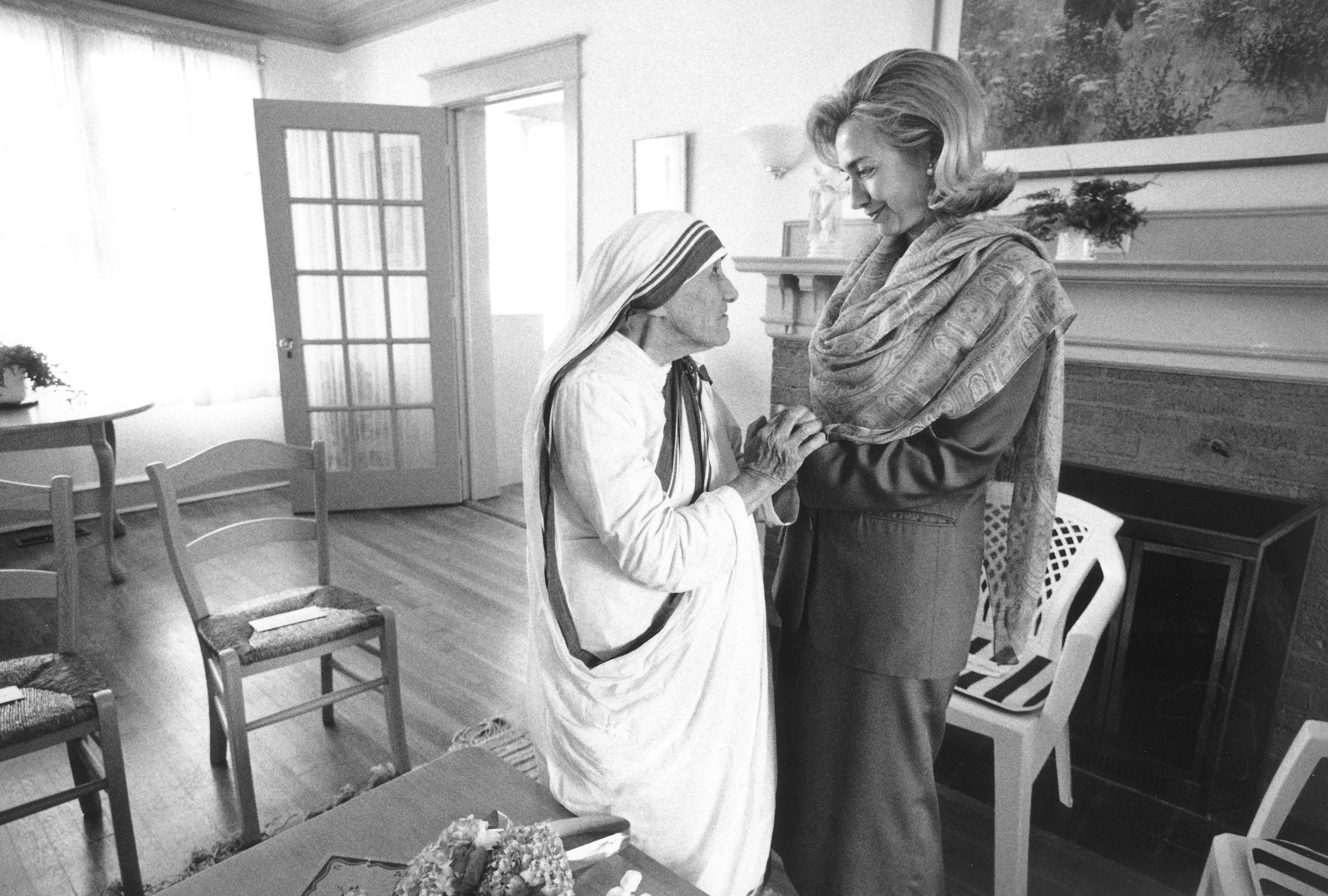 First Lady Hillary Rodham Clinton meets with Mother Teresa at the opening of the Mother Teresa Home for Infant Children in Washington, D.C., on June 19, 1995.