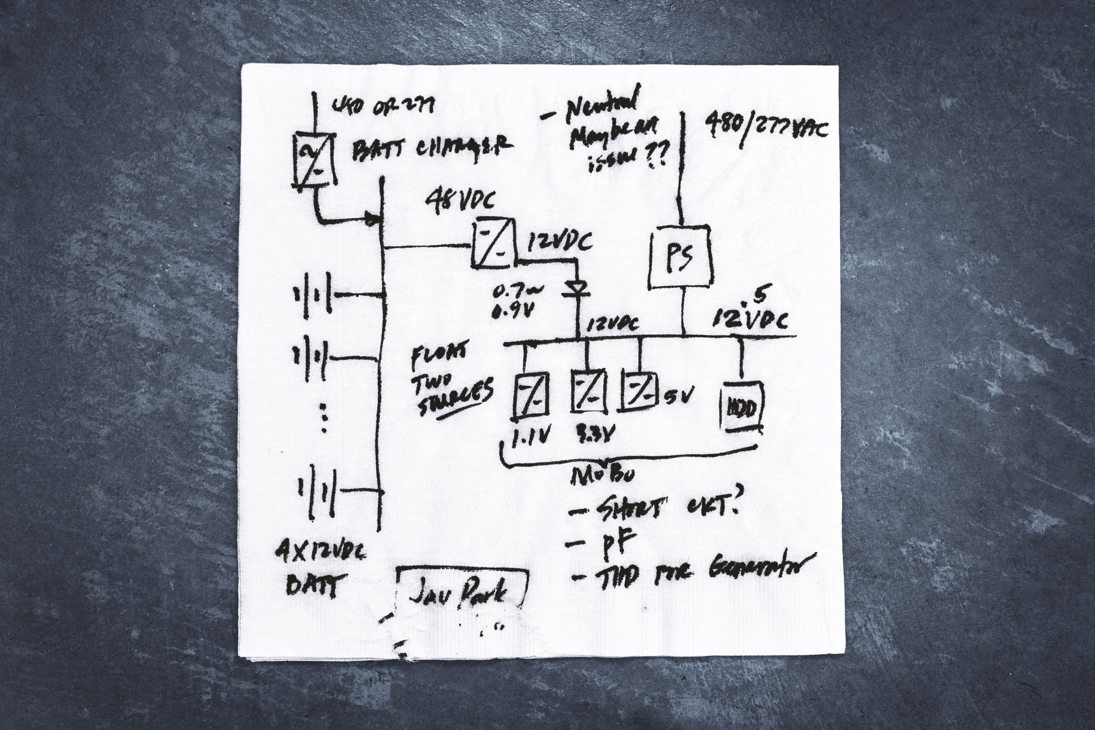 Park sketched his original idea for the data center's design on the back of a napkin.