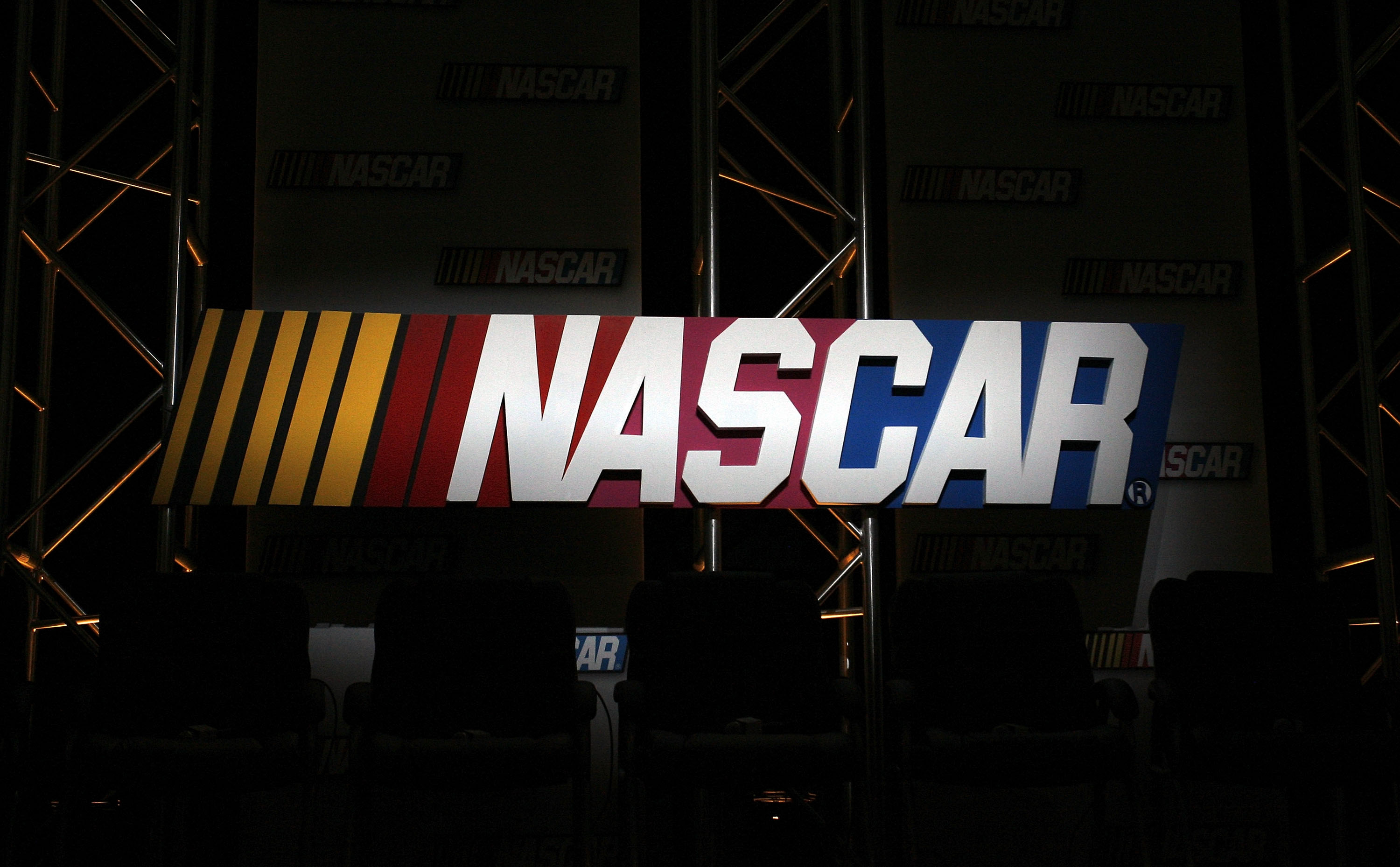 A general view of the NASCAR logo displayed during the NASCAR Sprint Media Tour hosted by Lowe's Motor Speedway at the NASCAR Research and Development Center January 22, 2009 in Concord, North Carolina.
