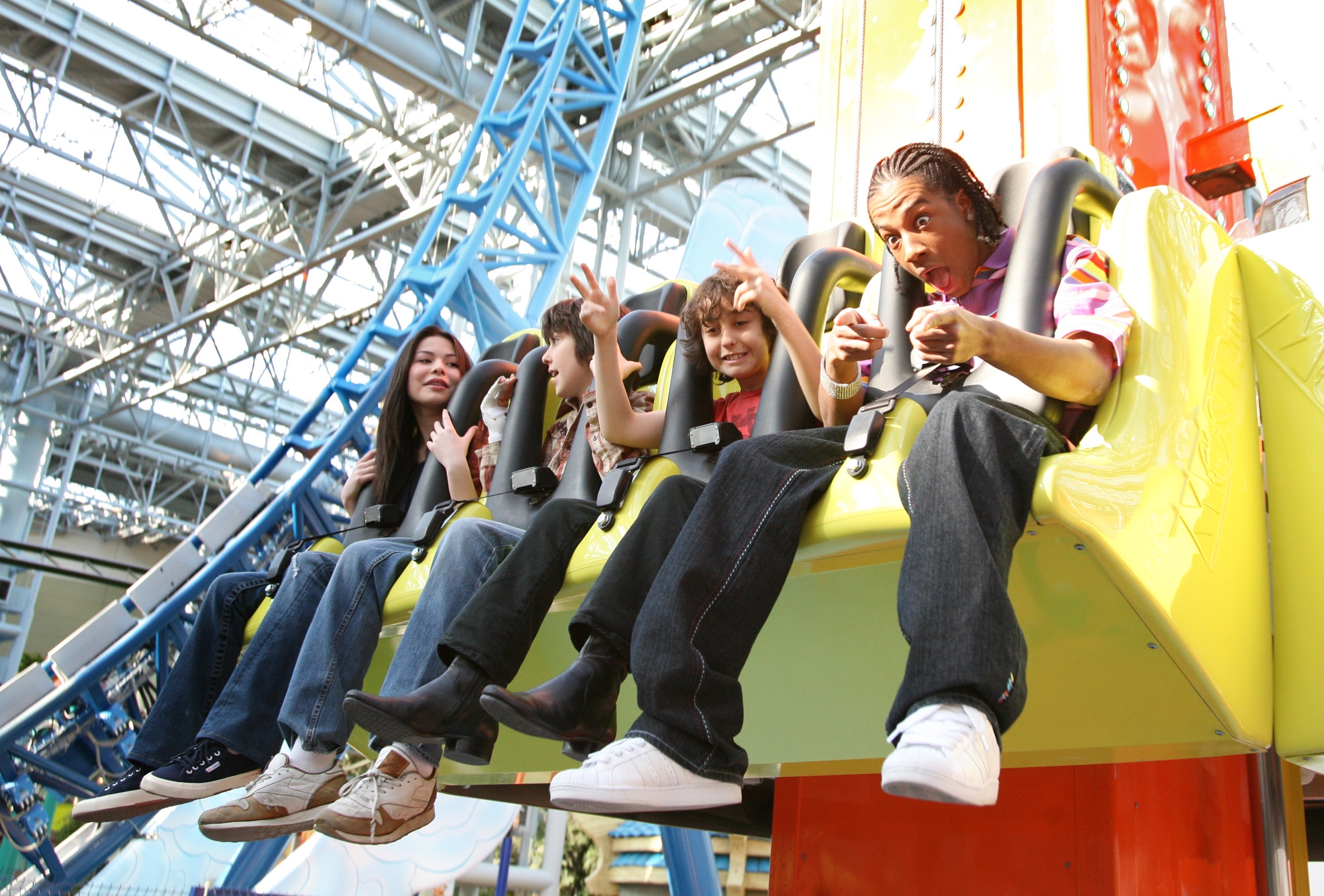 Actress Miranda Cosgrove, actor Nat Wolff, actor Alex Wolff, and recording artist Lil' JJ attend the grand opening of Nickelodeon Universe at the Mall of America March 15, 2008 in Bloomington, Minnesota.