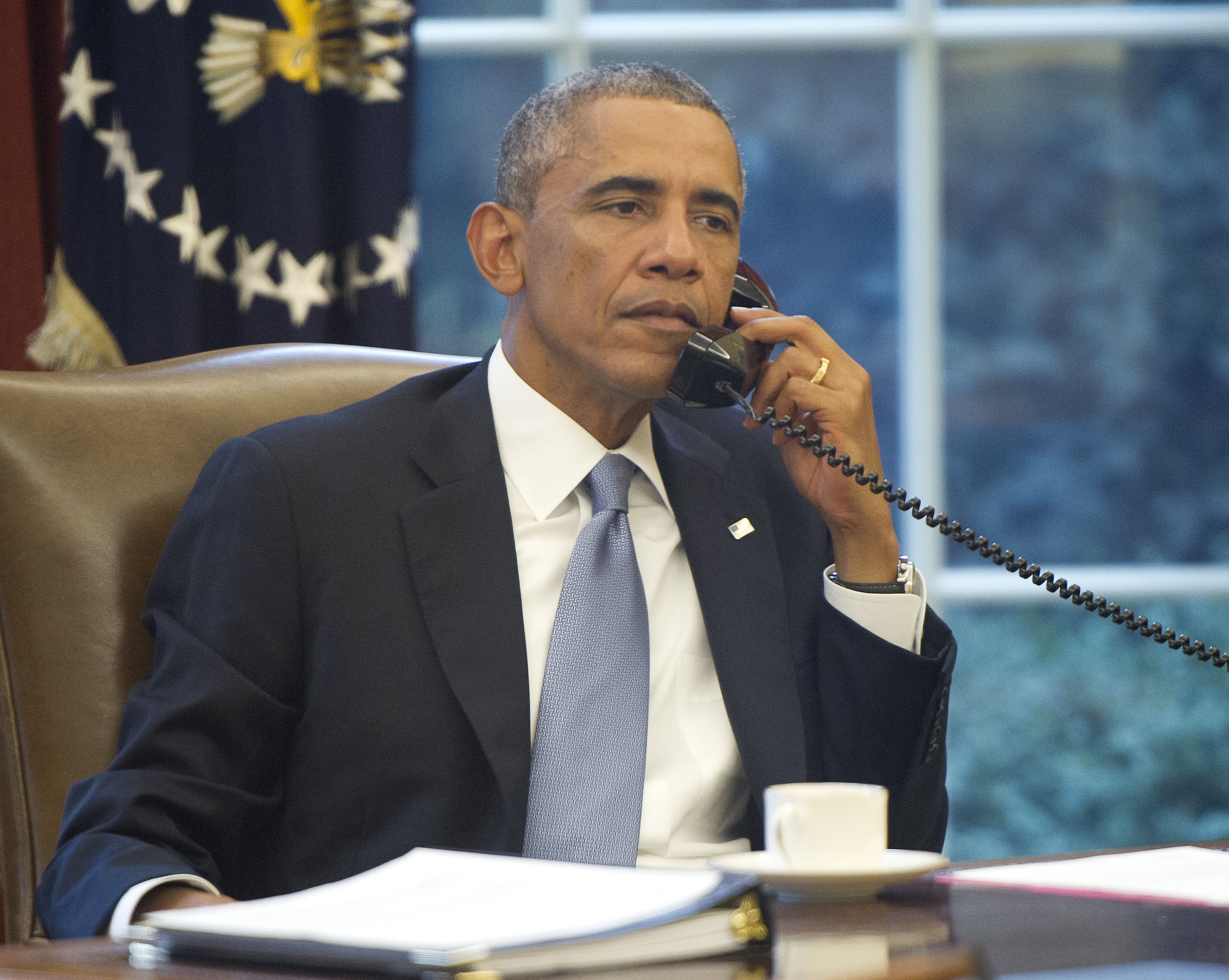 President Obama speaks on the phone with King Abdallah Abd al Aziz of the Kingdom of Saudi Arabia at White House in Washington, on Sept. 10, 2014