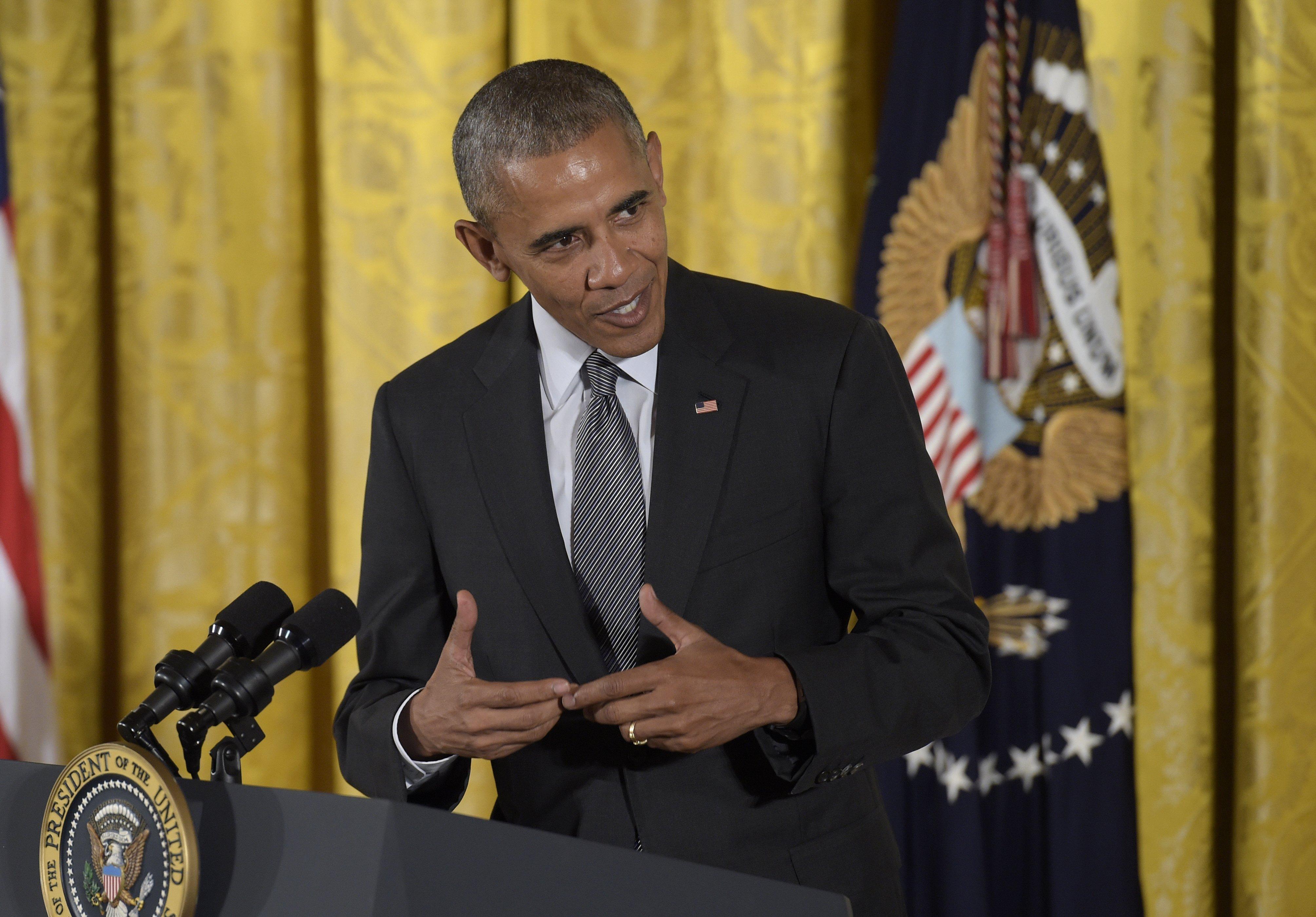 President Barack Obama speaks in the East Room of the White House in Washington, Sept. 22, 2016.