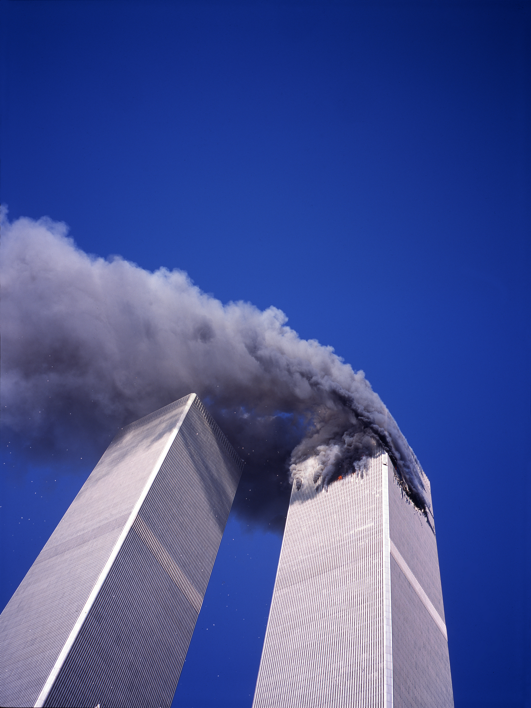 Smoke pours from the World Trade Center's North Tower, on Sept. 11, 2001.