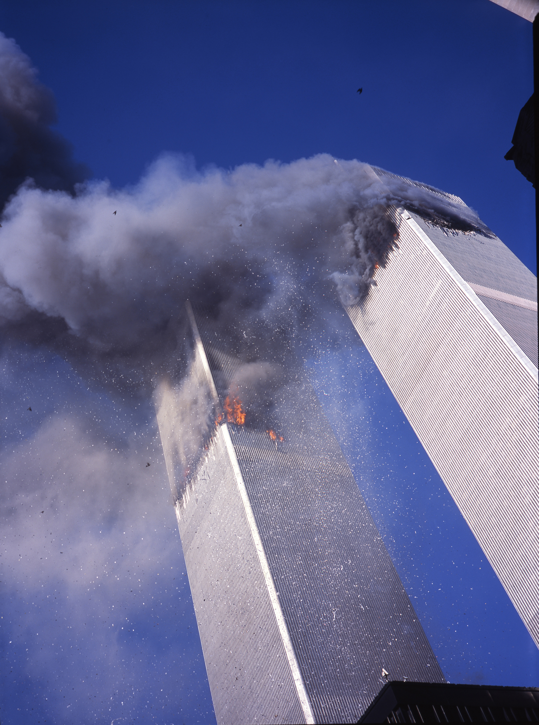 The second of two frames made by Lyle Owerko immediately after the second plane struck the South Tower of the World Trade Center, on Sept. 11, 2001.