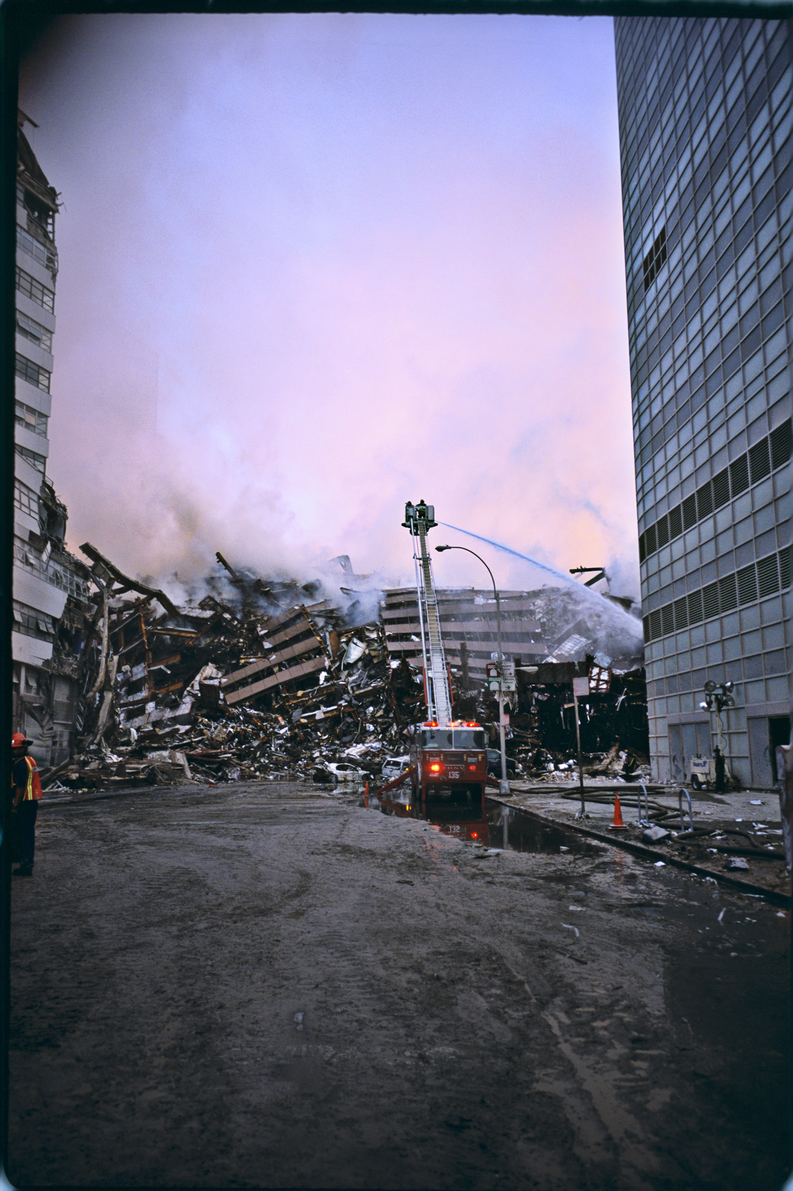 The aftermath of the collapse of World Trade Center 7, on Sept. 11, 2001.