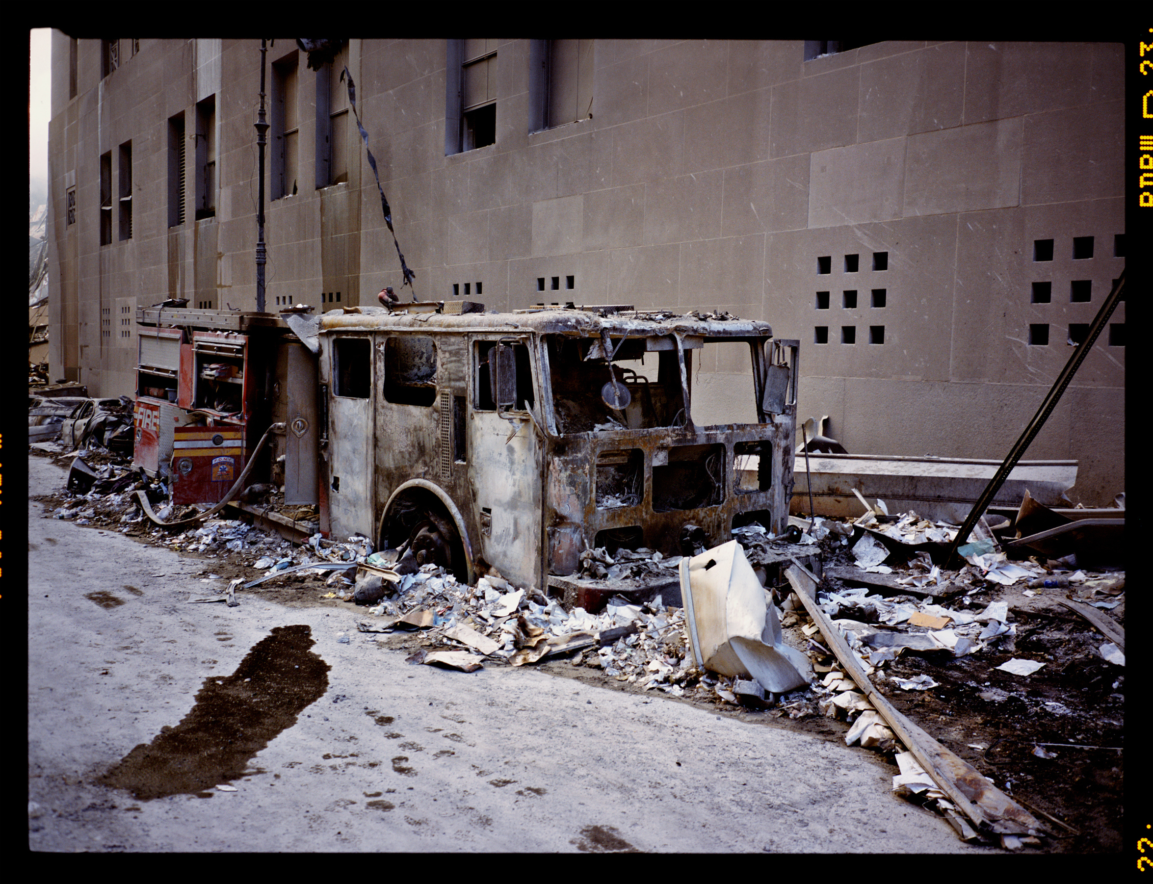 A destroyed fired truck on Vesey street, on Sept. 12, 2001.