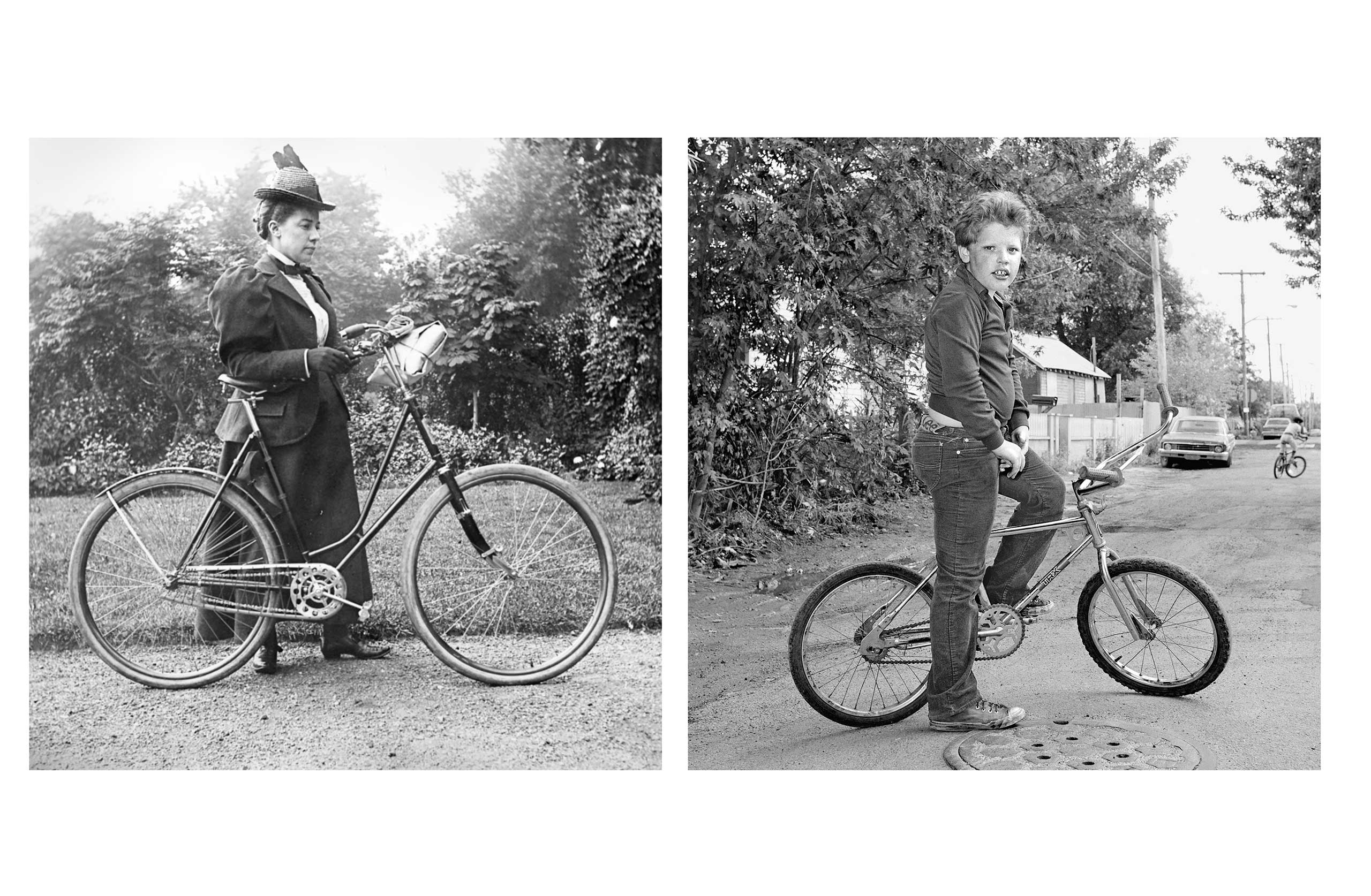 In Conversation: The Photographs of Alice Austen and Christine Oskinski, Alice Austen House, N.Y.: Sept. 18 - Dec. 23                                                                                              (Caption: Alice Austen, [Self-Portrait with Bicycle], 1897, and Boy on Bicycle, 1983-1984)                                                                                             Disclaimer: The Alice Austen House's curator Paul Moakley, is Deputy Director of Photography and Visual Enterprise at TIME
