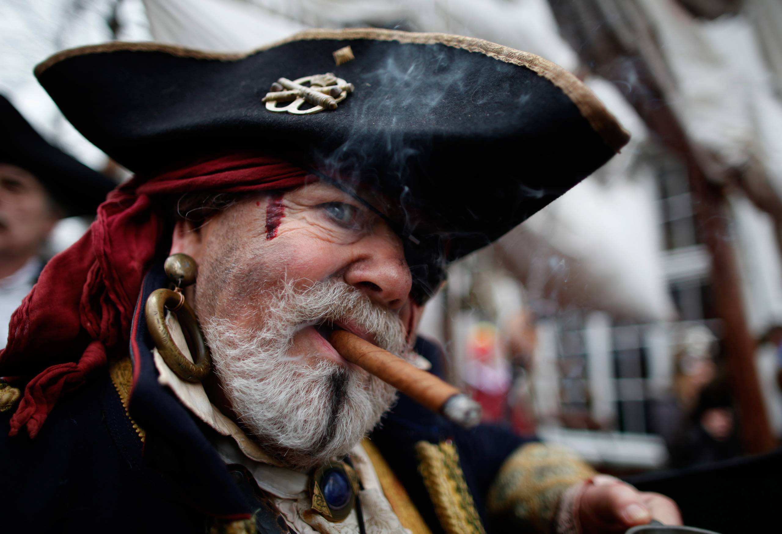 A man dressed as pirate poses during  Weiberfastnacht  (Women's Carnival) in Cologne, Germany, on Feb. 7, 2013.