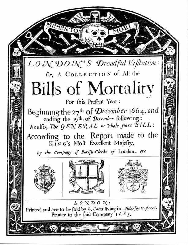 Bills of mortality bill for London, covering part of the period of the Great Plague, 1664-1665.