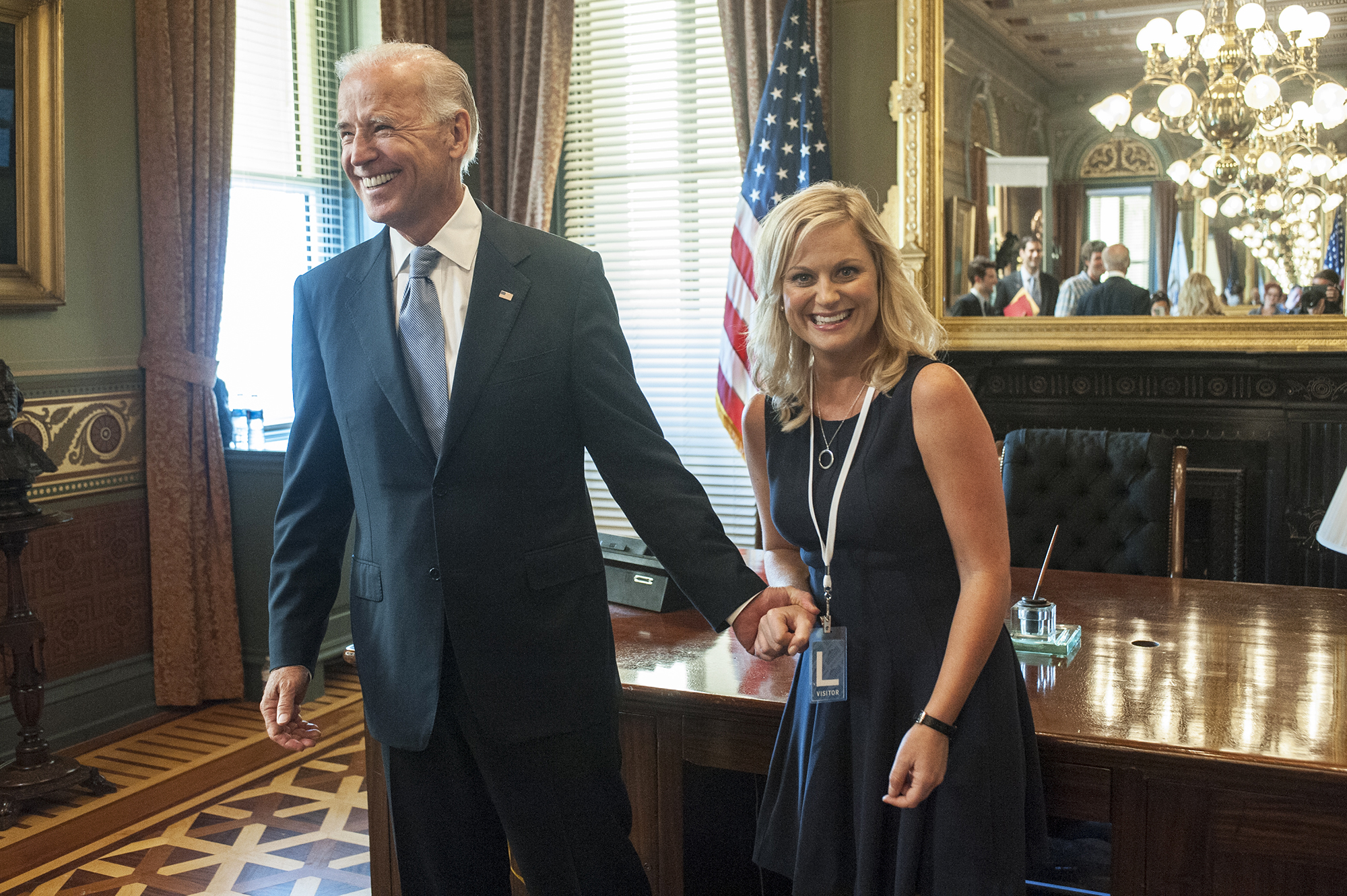 Vice President Joe Biden and Amy Poehler on Parks and Recreation, 2012.